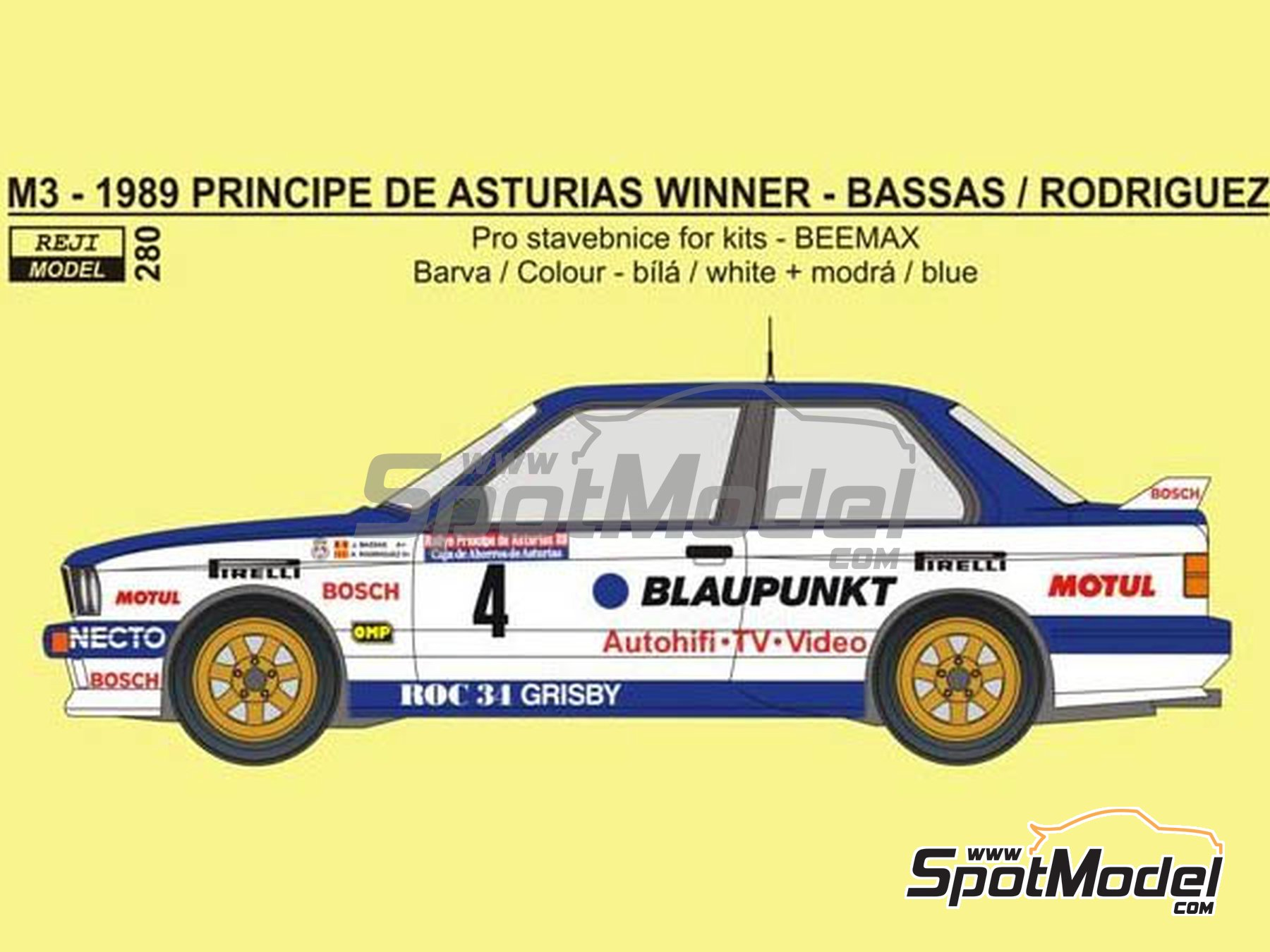 Image 1: BMW M3 E30 Blaupunkt - Principe de Asturias Rally 1989 | Marking / livery in 1/24 scale manufactured by Reji Model (ref. REJI-280)