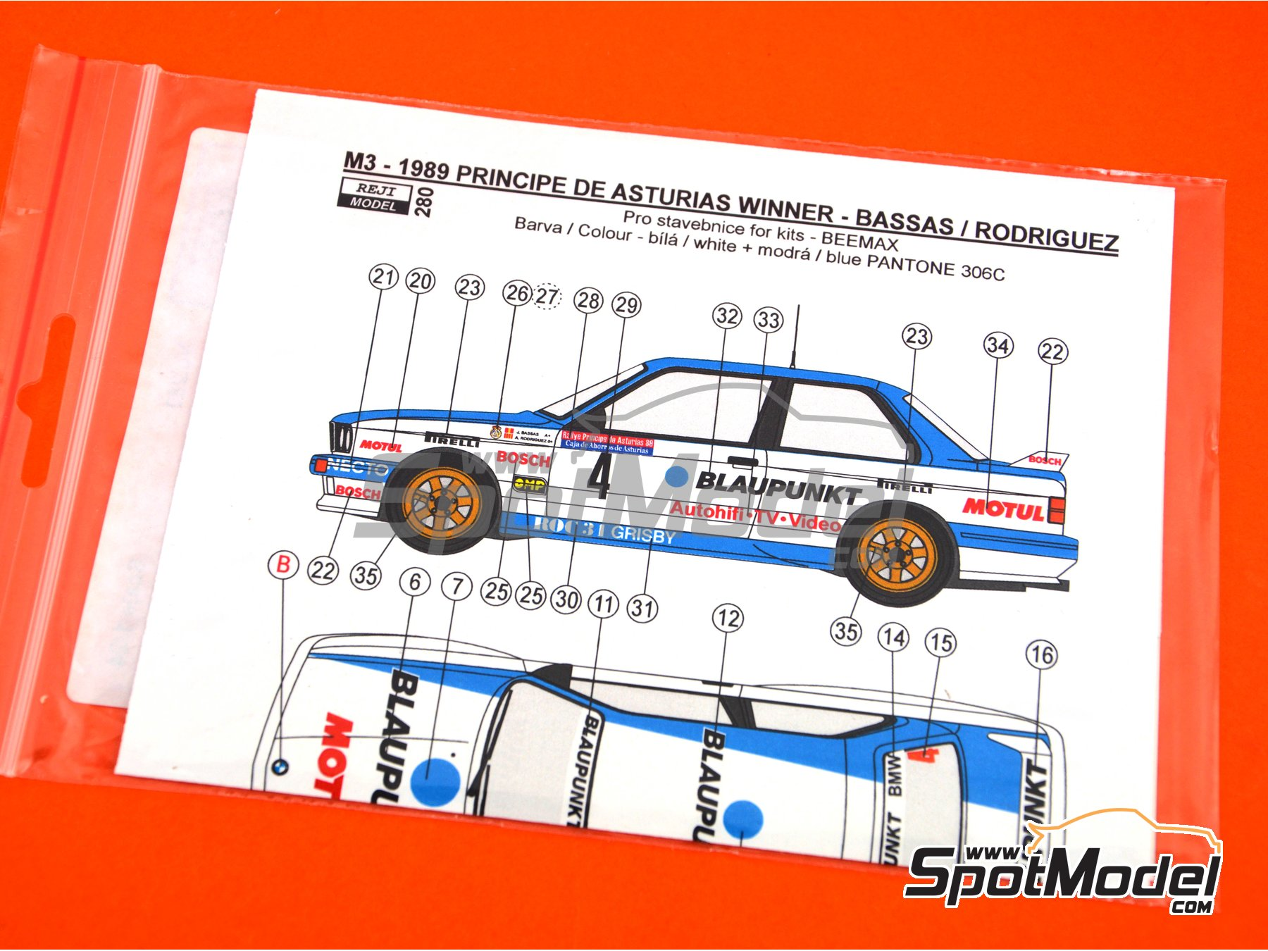 Image 3: BMW M3 E30 Blaupunkt - Principe de Asturias Rally 1989 | Marking / livery in 1/24 scale manufactured by Reji Model (ref. REJI-280)