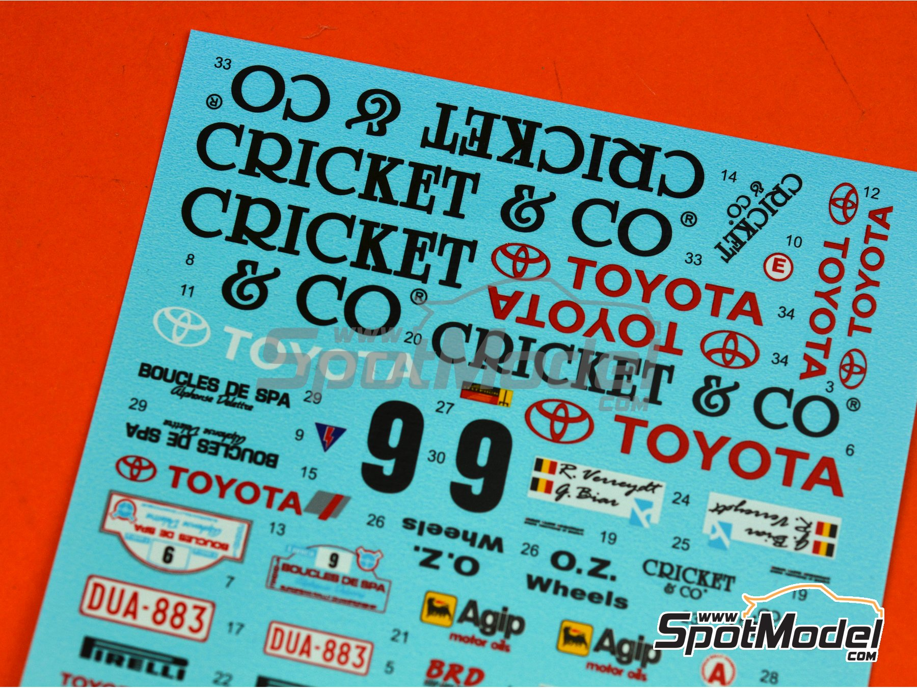 Image 4: Toyota Celica GT-Four ST165 Cricket & Co - Boucles de SPA 1992 | Marking / livery in 1/24 scale manufactured by Reji Model (ref. REJI-281)
