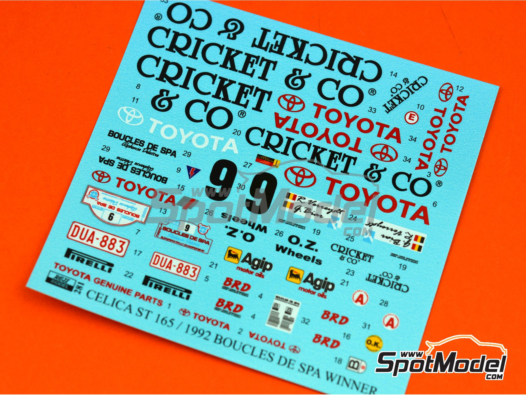 Image 6: Toyota Celica GT-Four ST165 Cricket & Co - Boucles de SPA 1992 | Marking / livery in 1/24 scale manufactured by Reji Model (ref. REJI-281)