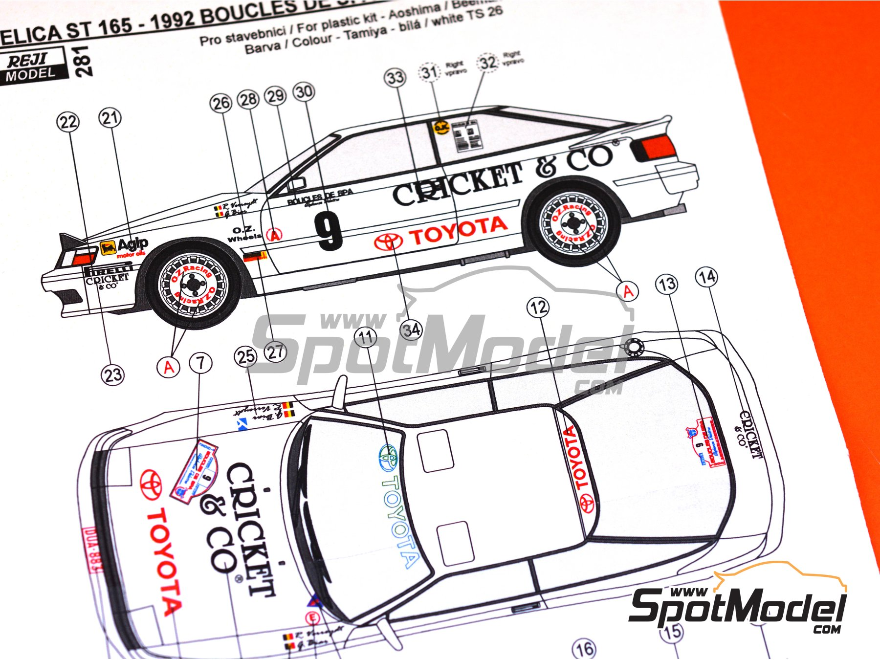 Image 7: Toyota Celica GT-Four ST165 Cricket & Co - Boucles de SPA 1992 | Marking / livery in 1/24 scale manufactured by Reji Model (ref. REJI-281)