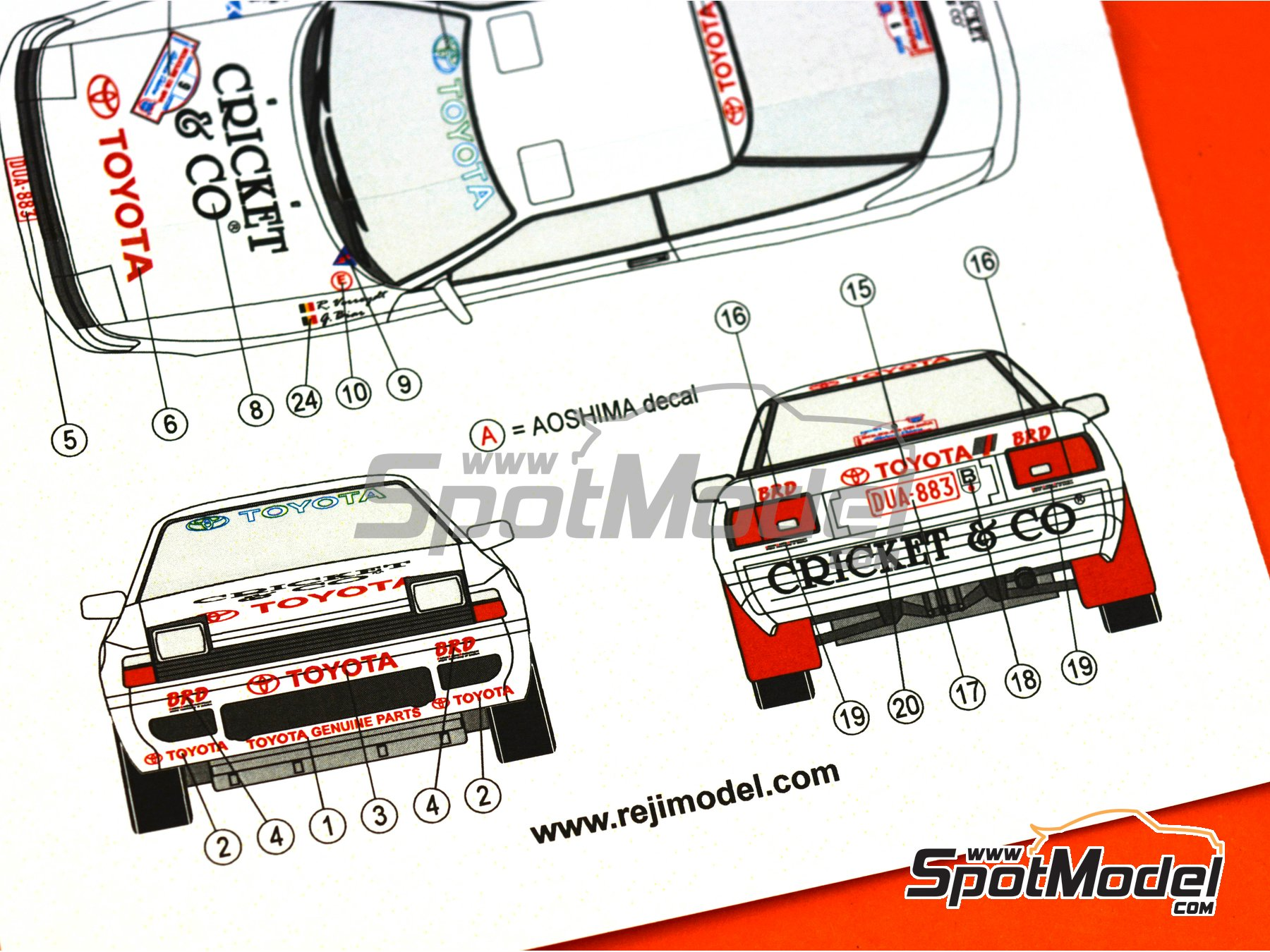 Image 8: Toyota Celica GT-Four ST165 Cricket & Co - Boucles de SPA 1992 | Marking / livery in 1/24 scale manufactured by Reji Model (ref. REJI-281)