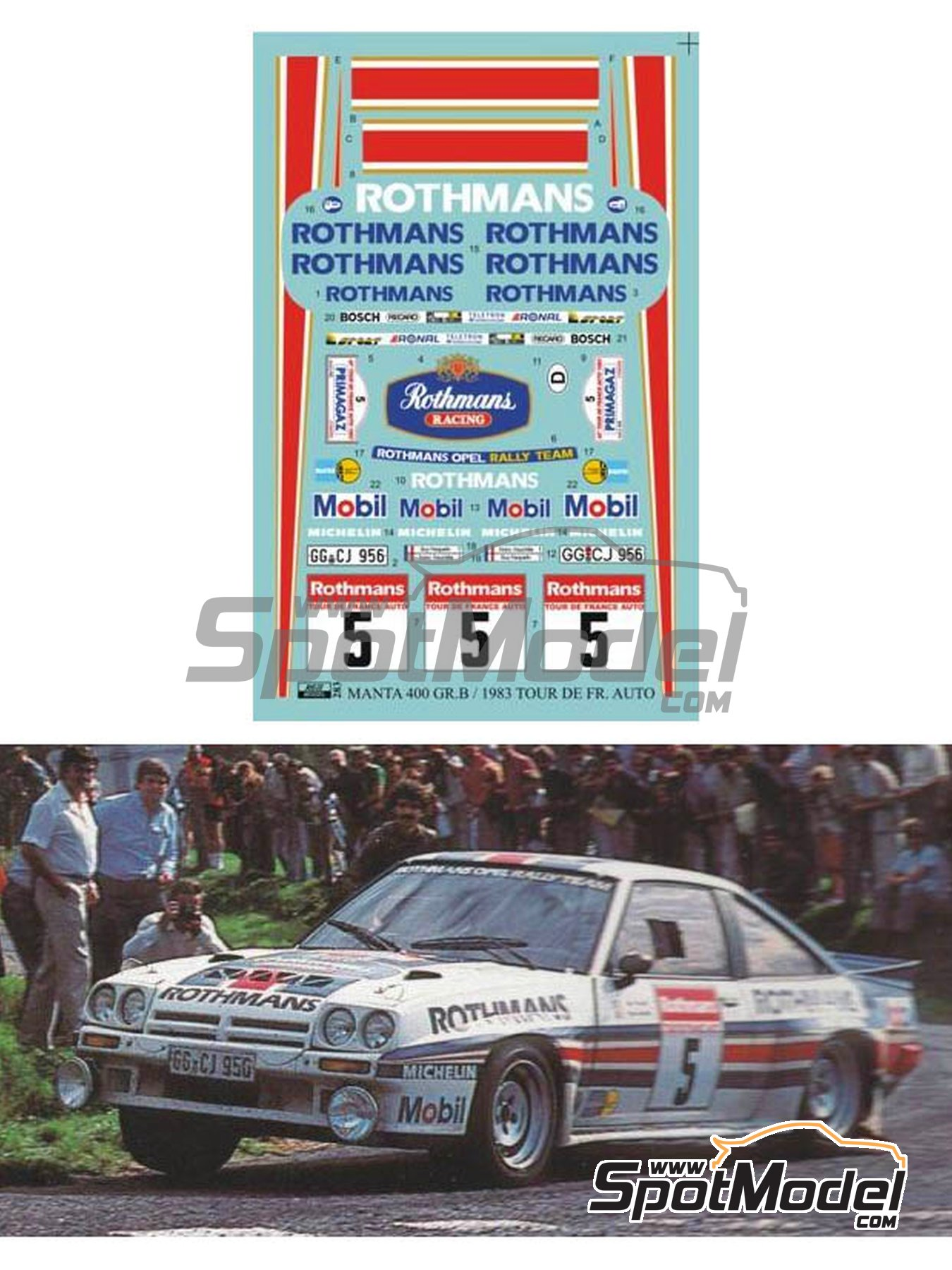 Opel Manta 400 Group B Rothmans Opel Rally Team - Tour de France Automobile 1983 | Marking / livery in 1/24 scale manufactured by Reji Model (ref. REJI-283) image