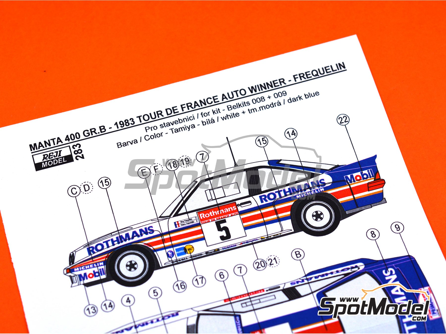 Image 7: Opel Manta 400 Group B Rothmans Opel Rally Team - Tour de France Automobile 1983 | Marking / livery in 1/24 scale manufactured by Reji Model (ref. REJI-283)