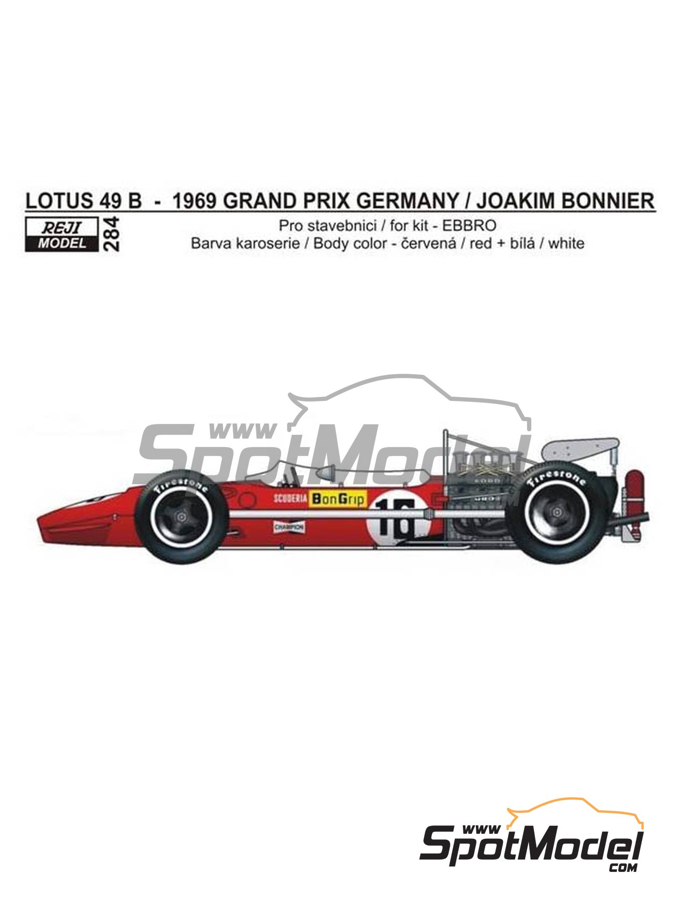 Lotus Ford Type 49B Scuderia BonGrip - German Grand Prix 1969 | Marking / livery in 1/20 scale manufactured by Reji Model (ref. REJI-284) image