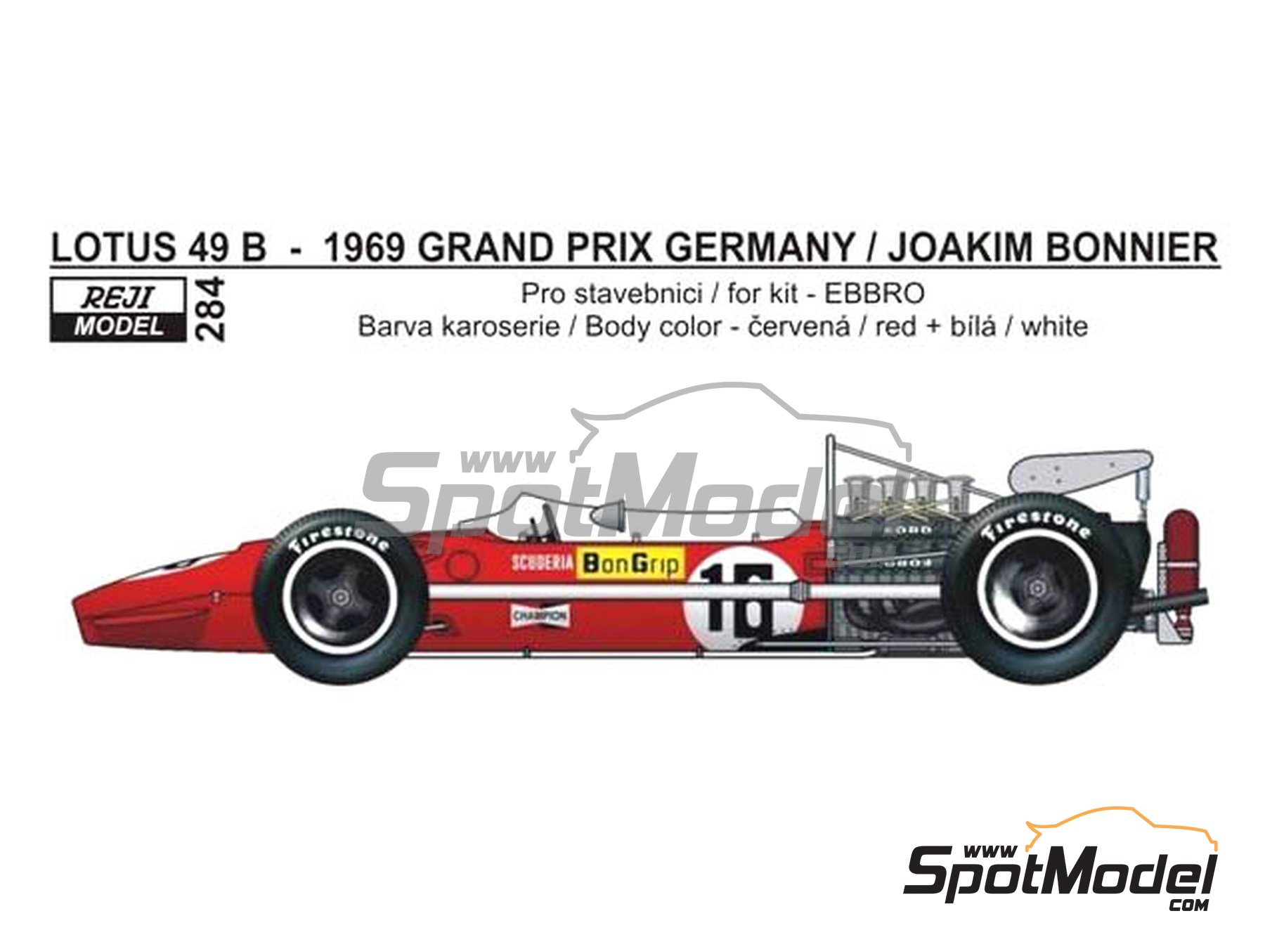 Image 1: Lotus Ford Type 49B Scuderia BonGrip - German Grand Prix 1969 | Marking / livery in 1/20 scale manufactured by Reji Model (ref. REJI-284)
