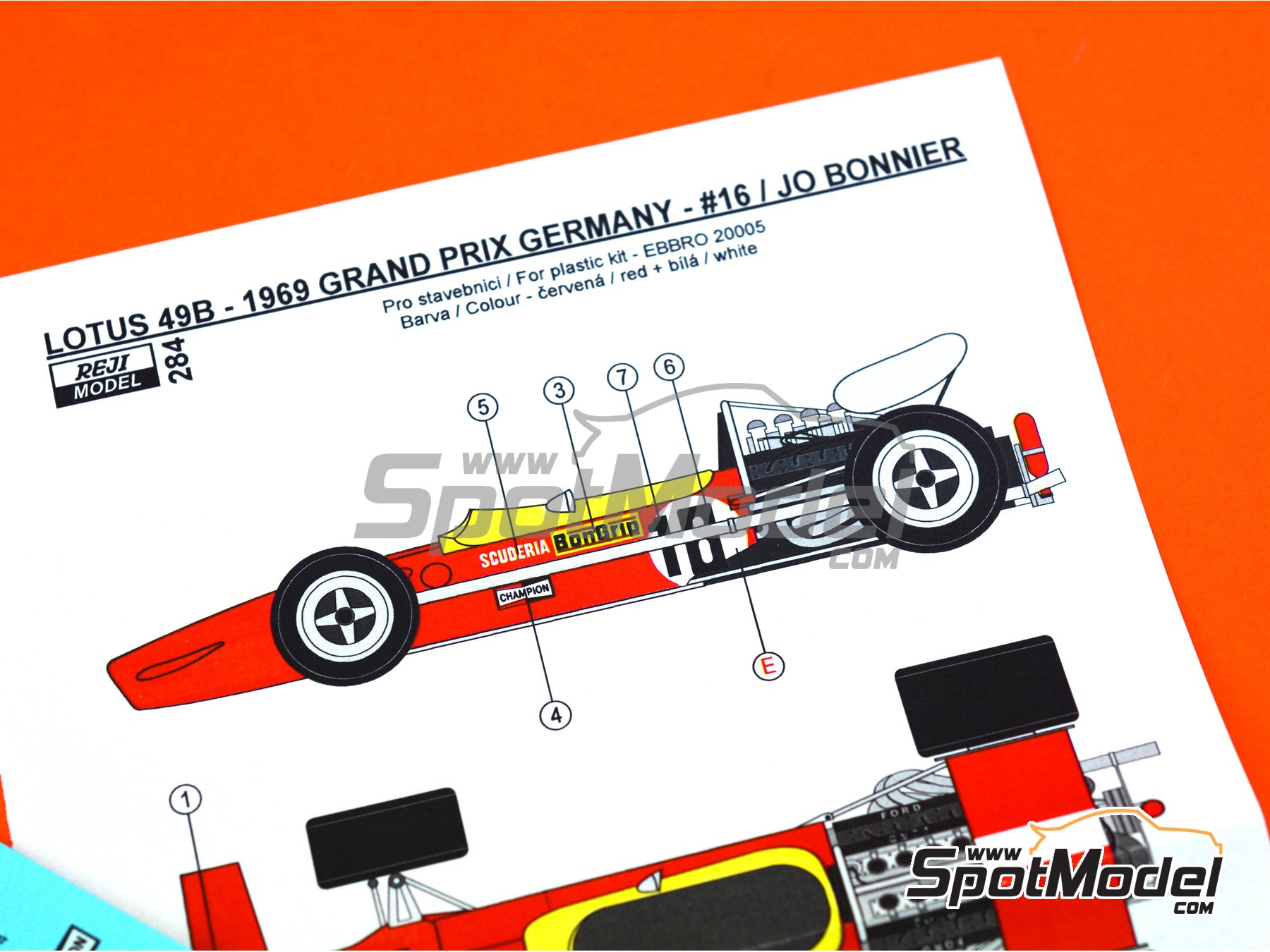 Image 5: Lotus Ford Type 49B Scuderia BonGrip - German Grand Prix 1969 | Marking / livery in 1/20 scale manufactured by Reji Model (ref. REJI-284)