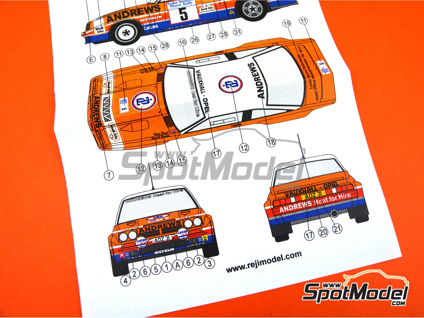 Image 7: Opel Manta 400 Group B Andrews Heat for hire - Tudor Webasto Manx International Rally 1985 | Marking / livery in 1/24 scale manufactured by Reji Model (ref. REJI-285)