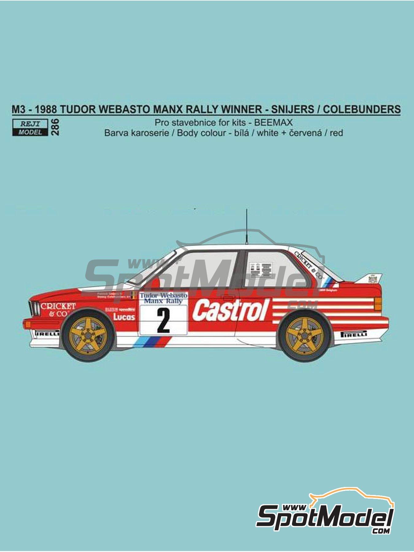 BMW M3 E30 Rally Castrol - Tudor Webasto Manx International Rally 1988 | Marking / livery in 1/24 scale manufactured by Reji Model (ref.REJI-286) image