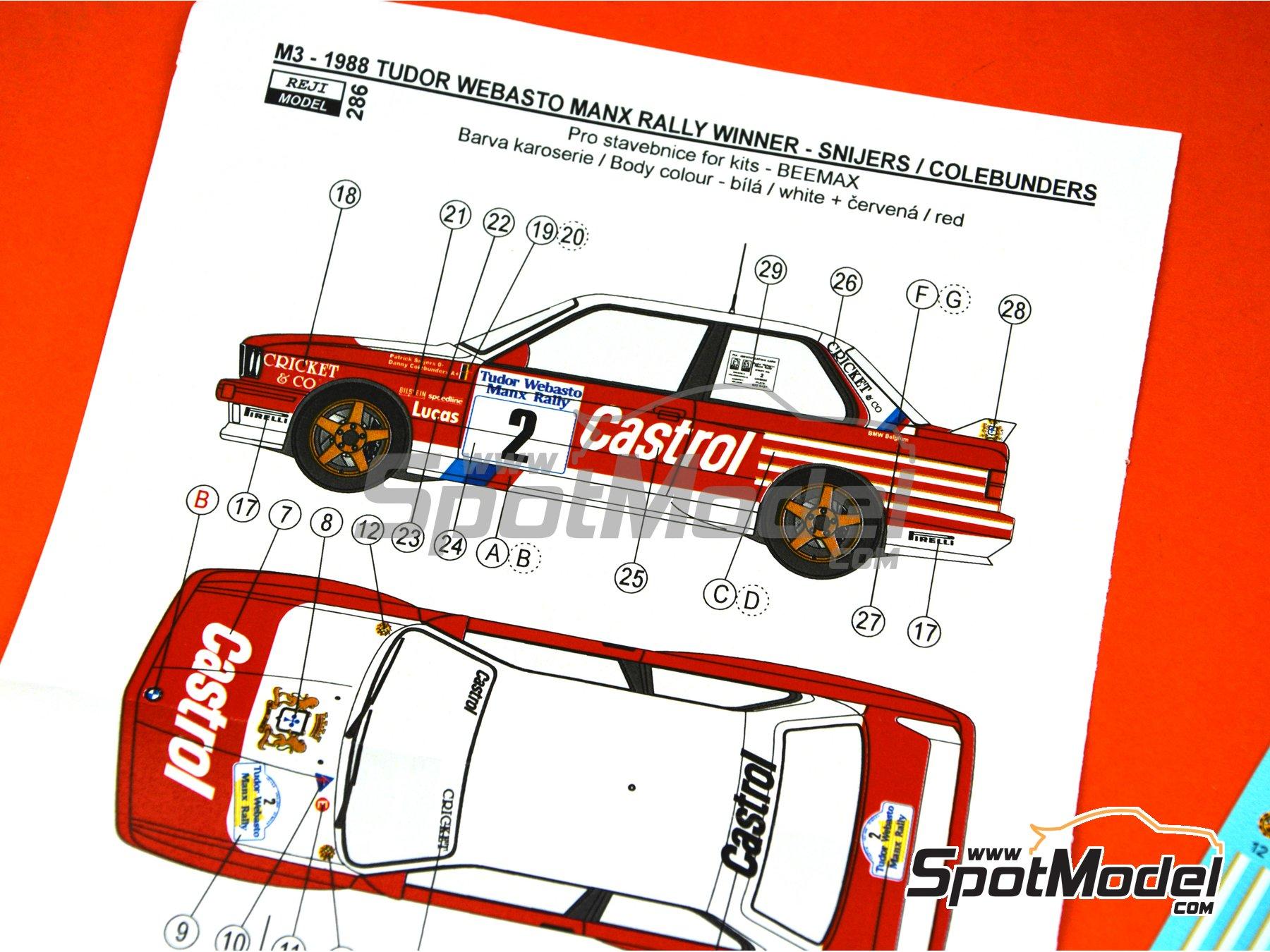Image 4: BMW M3 E30 Rally Castrol - Tudor Webasto Manx International Rally 1988 | Decoración en escala1/24 fabricado por Reji Model (ref.REJI-286)