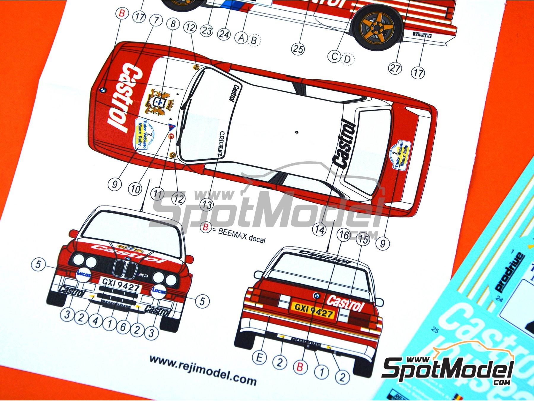 Image 5: BMW M3 E30 Rally Castrol - Tudor Webasto Manx International Rally 1988 | Decoración en escala1/24 fabricado por Reji Model (ref.REJI-286)