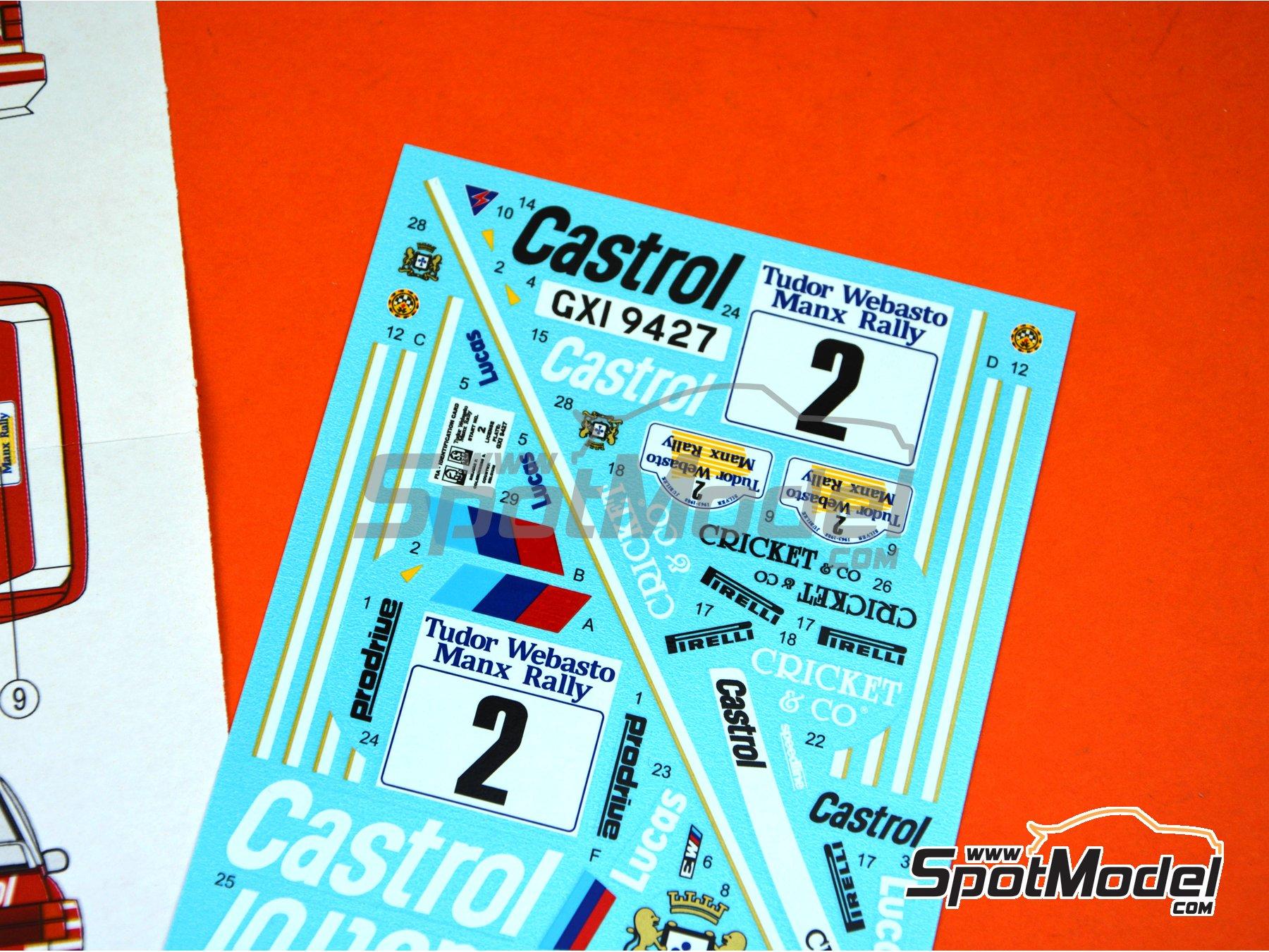 Image 6: BMW M3 E30 Rally Castrol - Tudor Webasto Manx International Rally 1988 | Decoración en escala1/24 fabricado por Reji Model (ref.REJI-286)