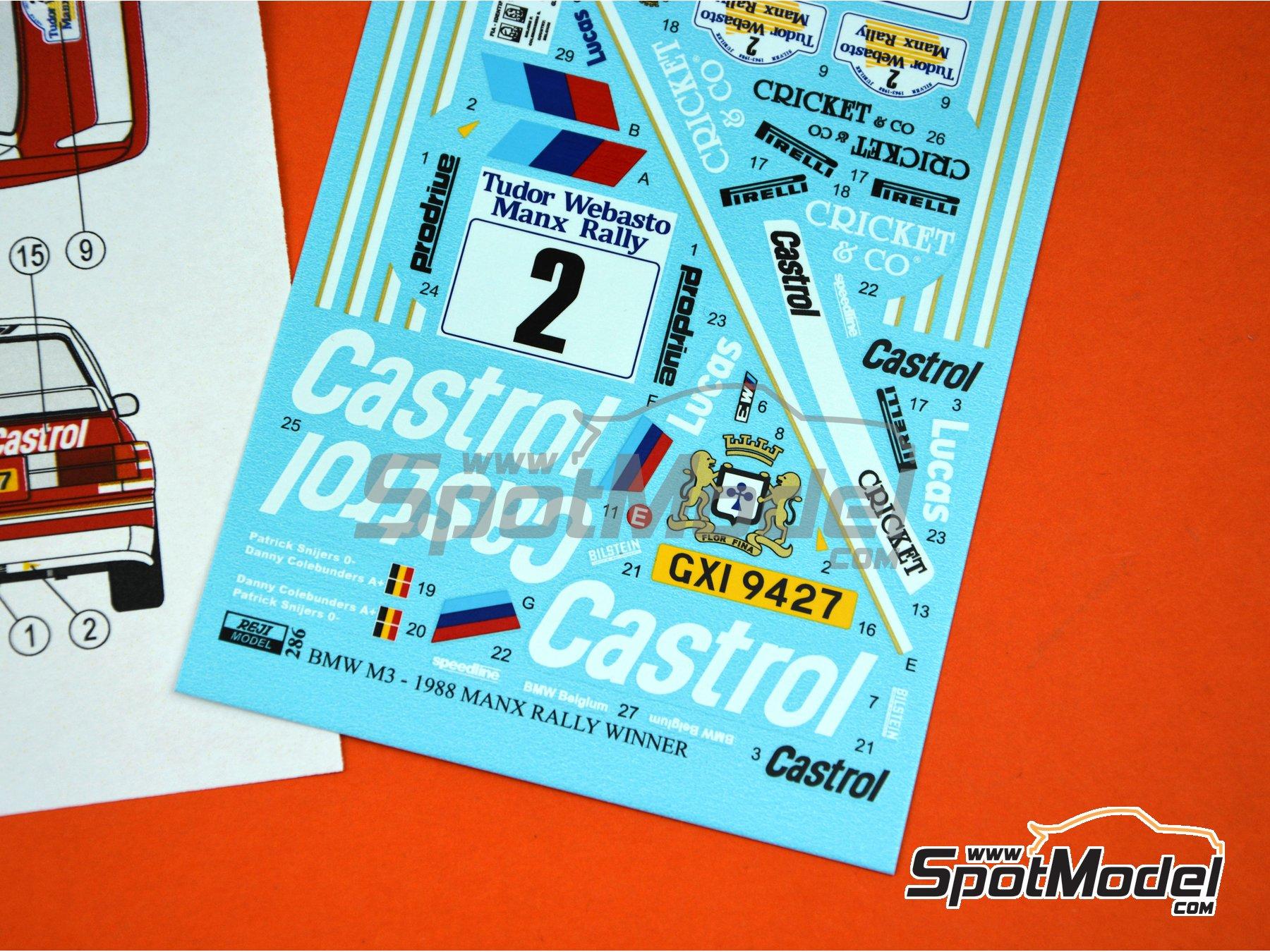 Image 7: BMW M3 E30 Rally Castrol - Tudor Webasto Manx International Rally 1988 | Decoración en escala1/24 fabricado por Reji Model (ref.REJI-286)