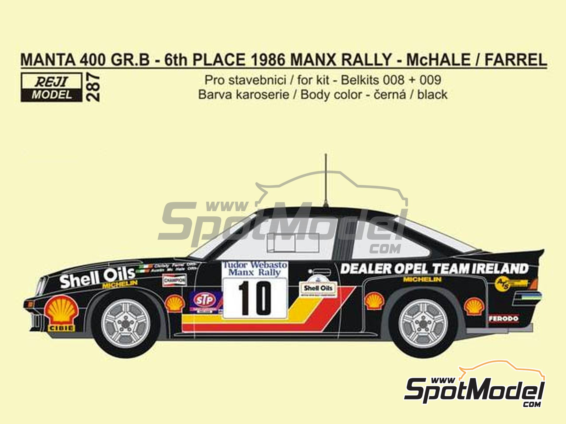 Image 1: Opel Manta 400 Group B Dealer Opel Team Ireland - Tudor Webasto Manx International Rally 1986 | Marking / livery in 1/24 scale manufactured by Reji Model (ref. REJI-287)