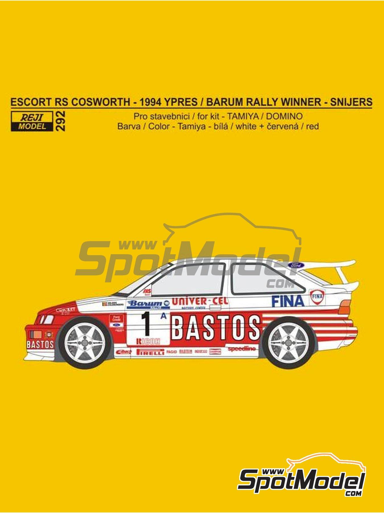 Ford Escort RS Cosworth Bastos - Rally Barum de la Republica Checa, Rally de Ypres de Belgica 1994 | Decoración en escala1/24 fabricado por Reji Model (ref.REJI-292) image