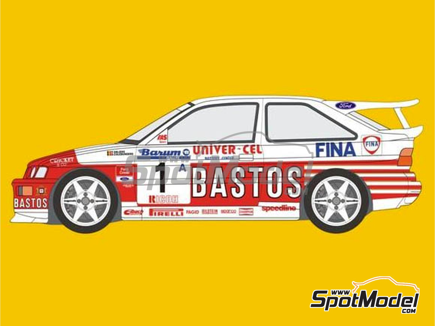 Image 1: Ford Escort RS Cosworth Bastos - Barum Czech Rally, Ypres Rally 1994 | Marking / livery in 1/24 scale manufactured by Reji Model (ref.REJI-292)