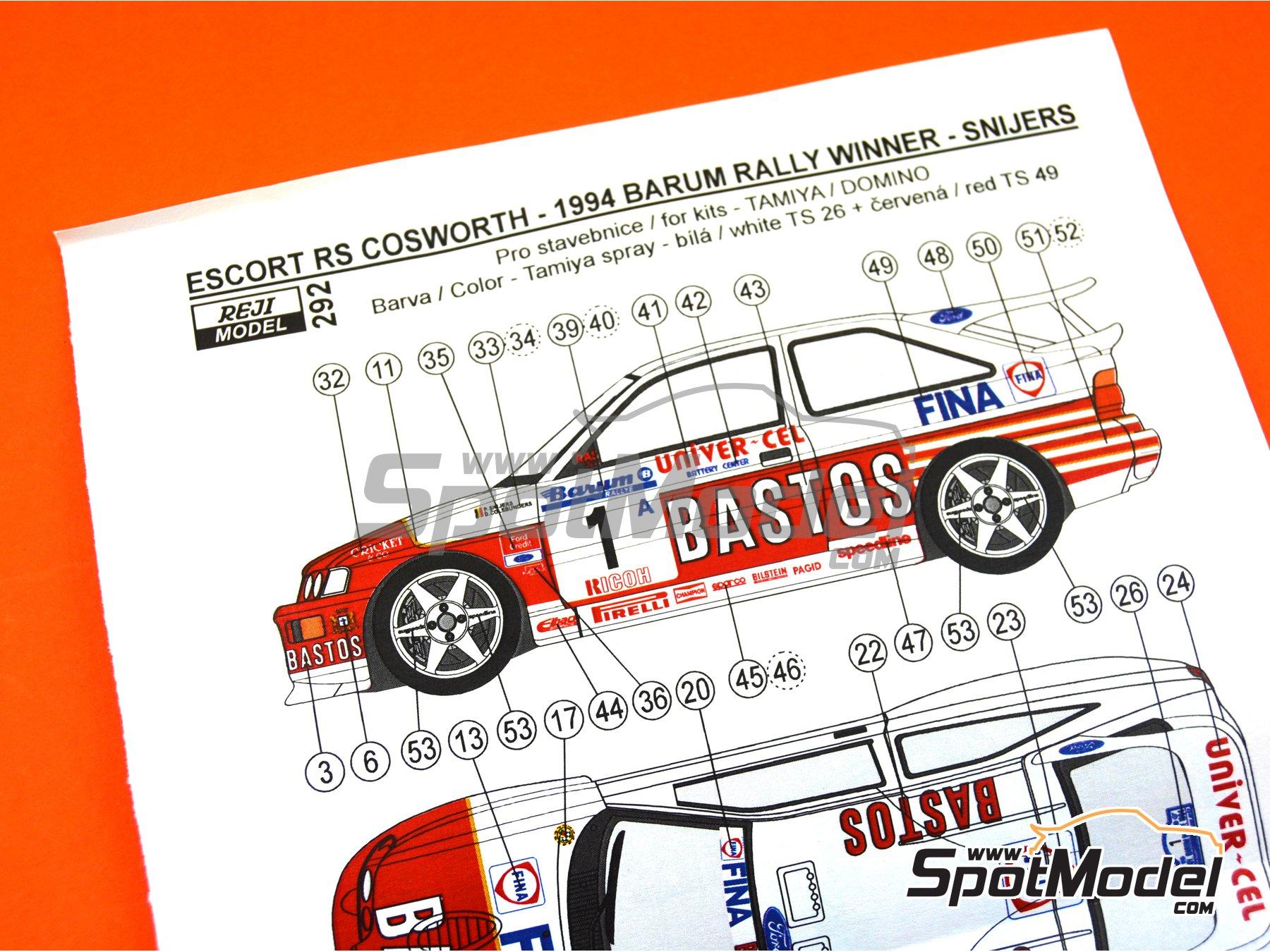 Image 9: Ford Escort RS Cosworth Bastos - Rally Barum de la Republica Checa, Rally de Ypres de Belgica 1994 | Decoración en escala1/24 fabricado por Reji Model (ref.REJI-292)