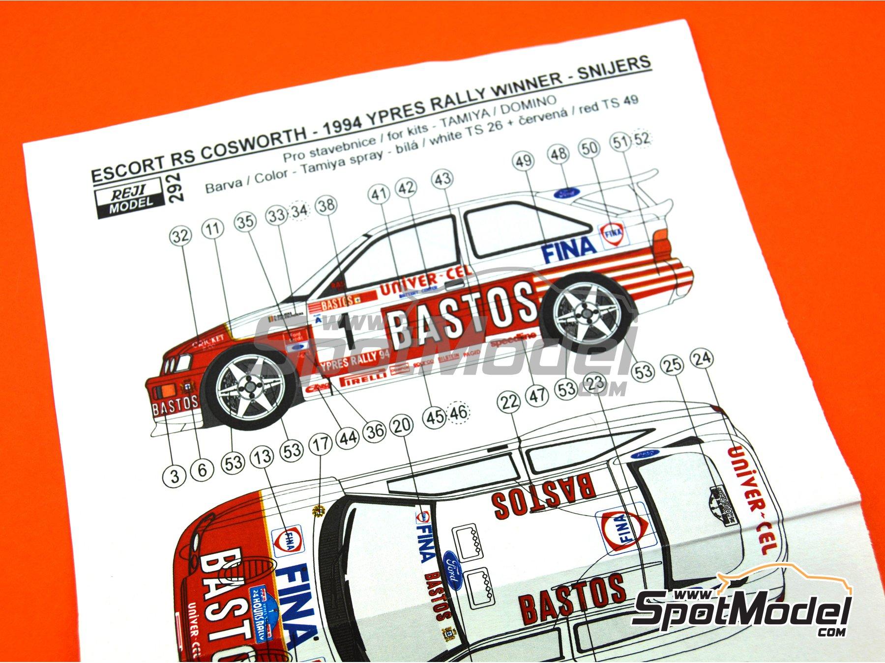 Image 10: Ford Escort RS Cosworth Bastos - Rally Barum de la Republica Checa, Rally de Ypres de Belgica 1994 | Decoración en escala1/24 fabricado por Reji Model (ref.REJI-292)