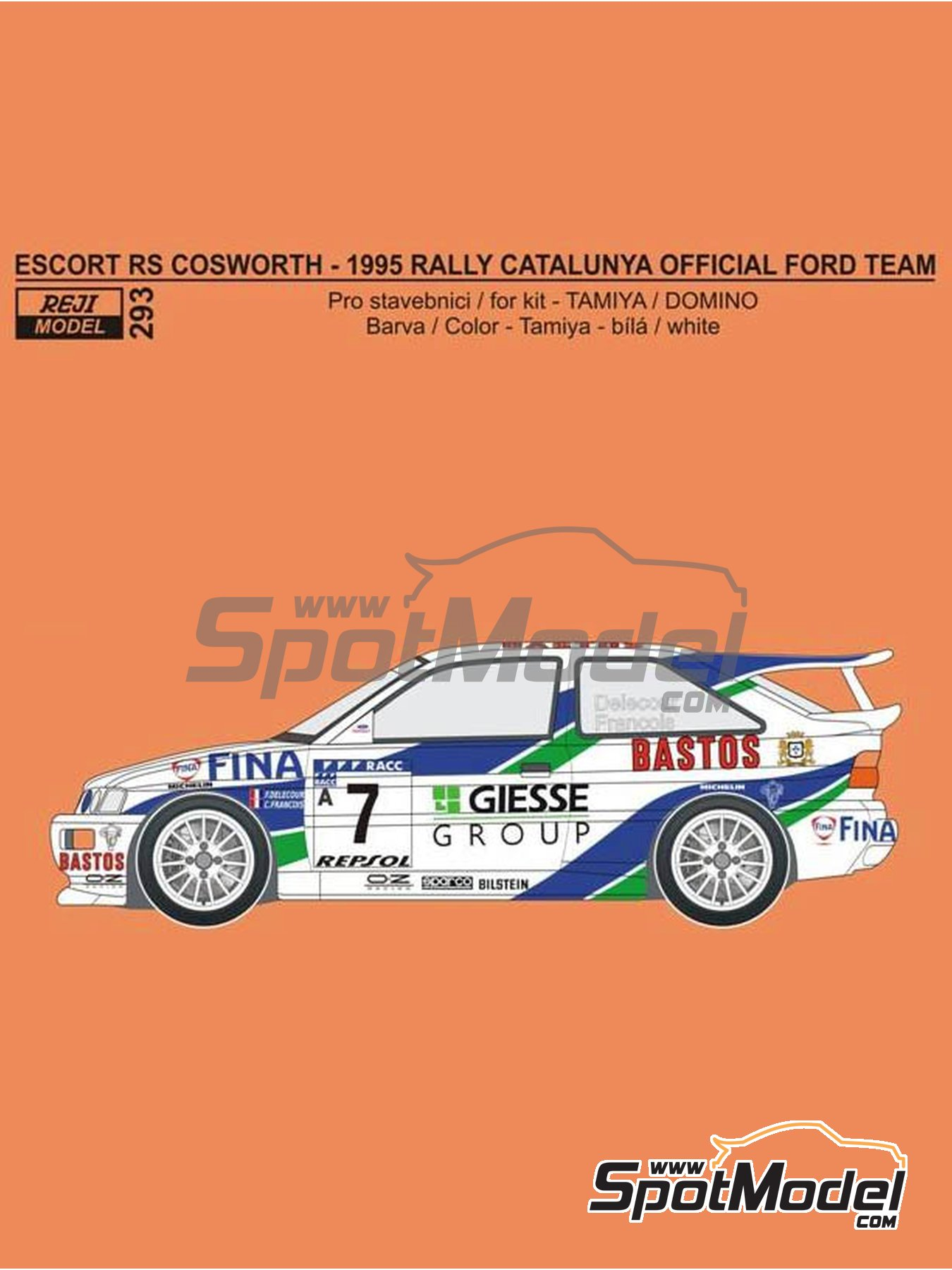 Ford Escort RS Cosworth Official Ford Team - Catalunya Costa Dorada RACC Rally 1995 | Marking / livery in 1/24 scale manufactured by Reji Model (ref. REJI-293) image