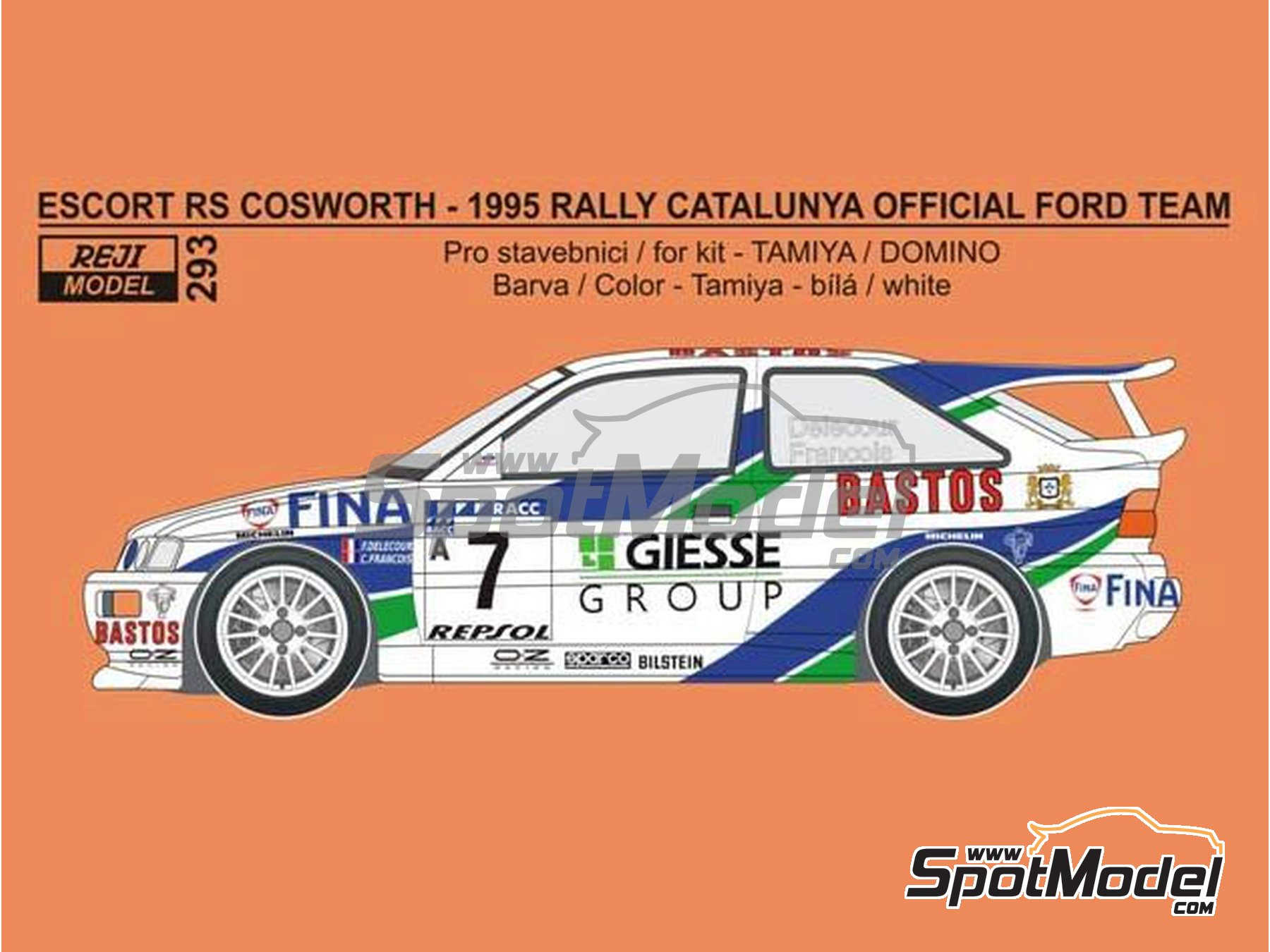 Image 1: Ford Escort RS Cosworth Official Ford Team - Catalunya Costa Dorada RACC Rally 1995 | Marking / livery in 1/24 scale manufactured by Reji Model (ref. REJI-293)