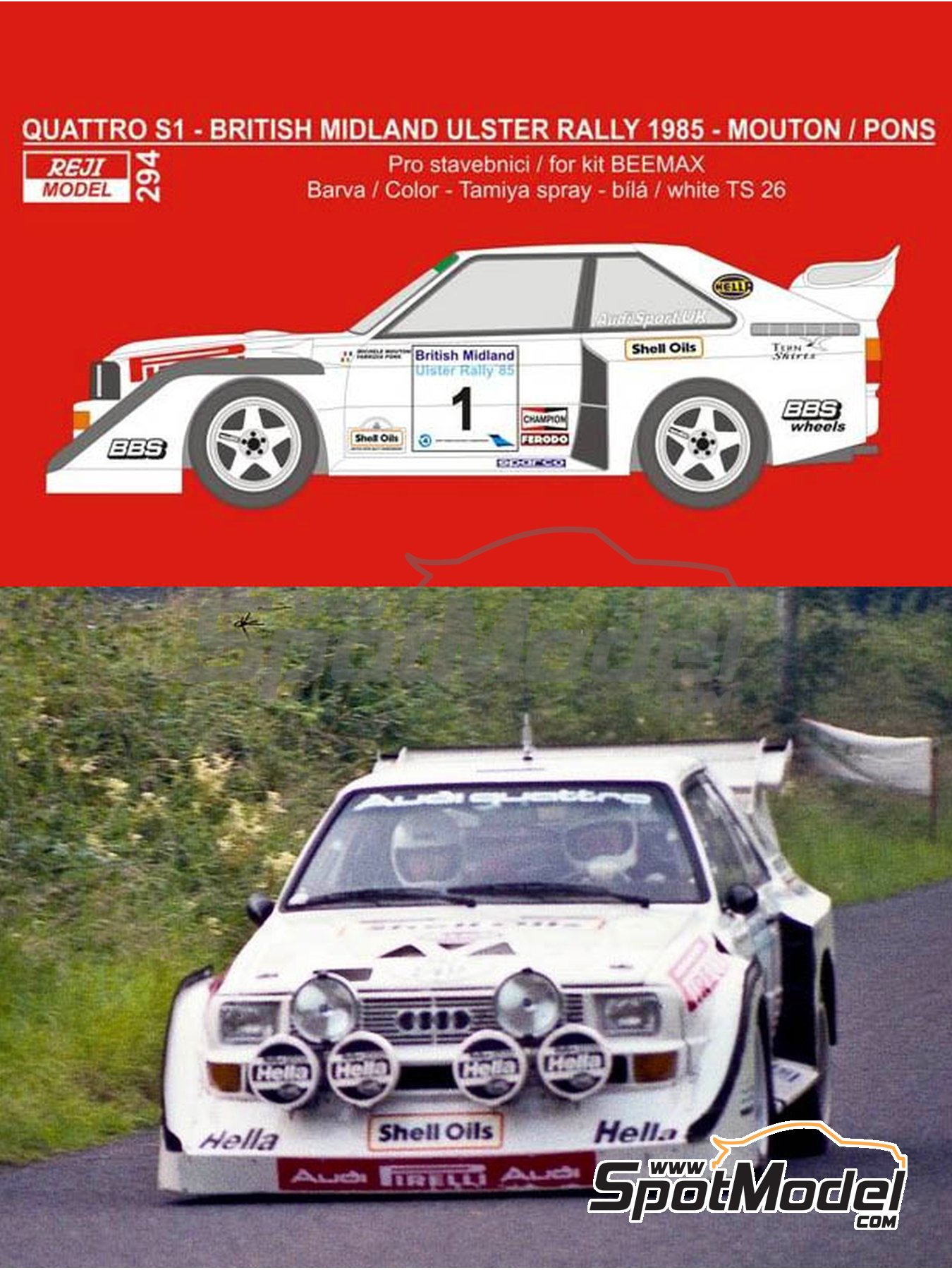 Audi Quattro Sport S1 - British Midland Ulster Rally 1985 | Marking / livery in 1/24 scale manufactured by Reji Model (ref.REJI-294) image