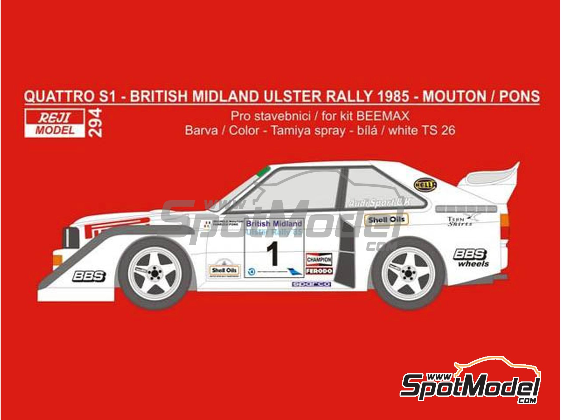 Image 1: Audi Quattro Sport S1 - British Midland Ulster Rally 1985 | Marking / livery in 1/24 scale manufactured by Reji Model (ref.REJI-294)