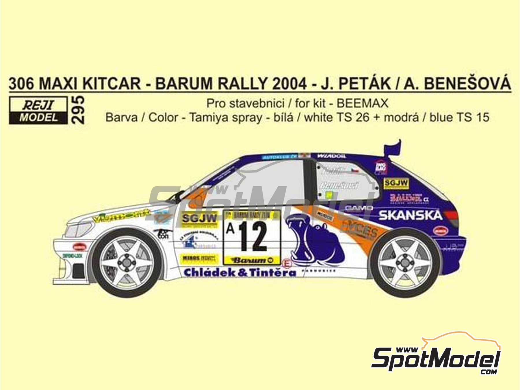 Image 1: Peugeot 306 Maxi Kitcar - Barum Czech Rally 2004 | Marking / livery in 1/24 scale manufactured by Reji Model (ref. REJI-295)