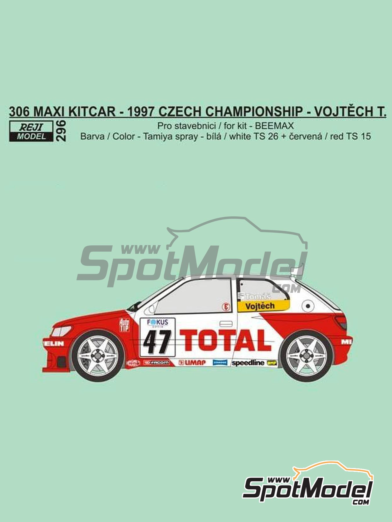 Peugeot 306 Maxi Kitcar Total - Czech Rally Championship 1997 | Marking / livery in 1/24 scale manufactured by Reji Model (ref.REJI-296) image
