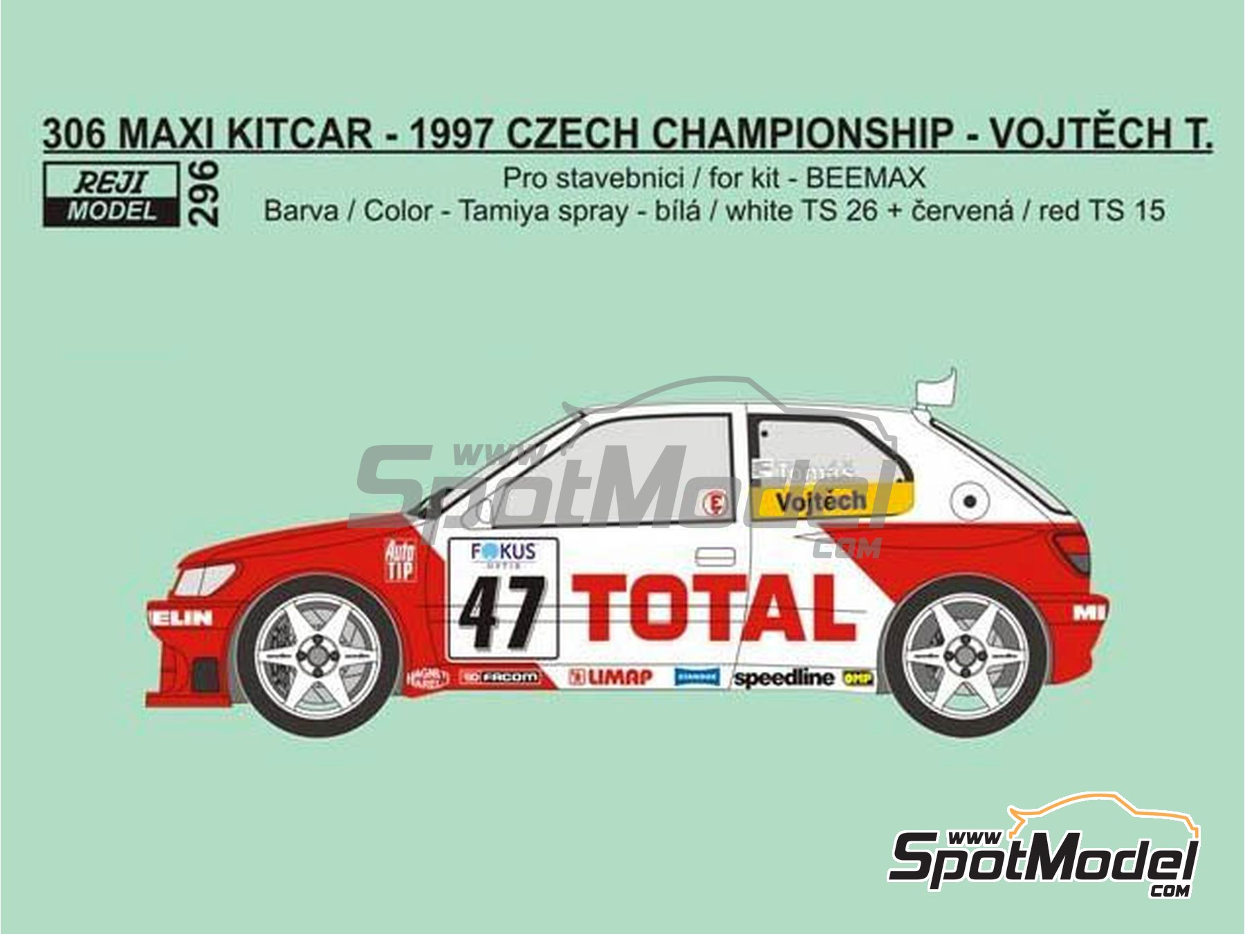 Image 1: Peugeot 306 Maxi Kitcar Total - Czech Rally Championship 1997 | Marking / livery in 1/24 scale manufactured by Reji Model (ref. REJI-296)