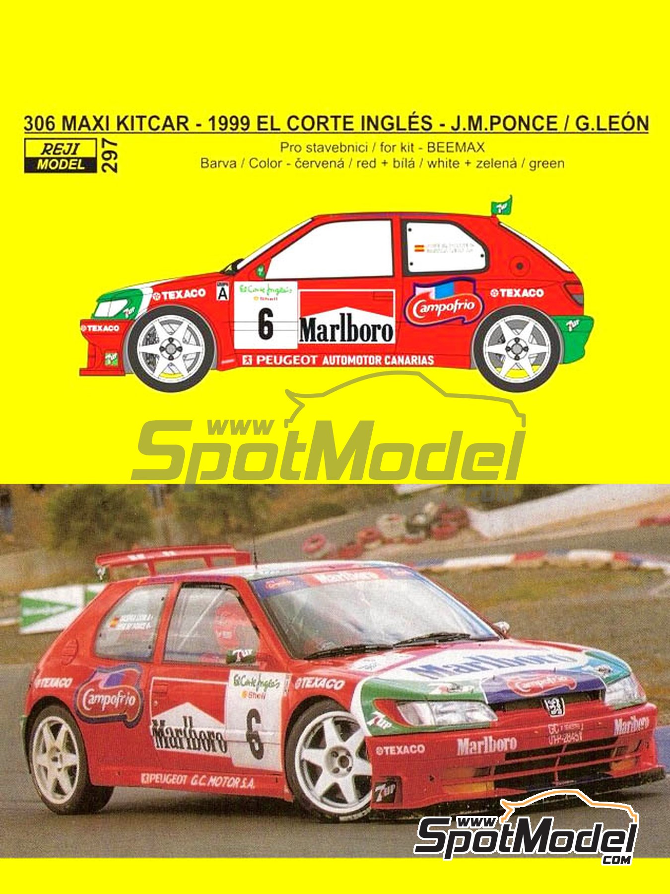 Peugeot 306 Maxi Kitcar Marlboro - El Corte Ingles Rally 1999 | Marking / livery in 1/24 scale manufactured by Reji Model (ref. REJI-297) image