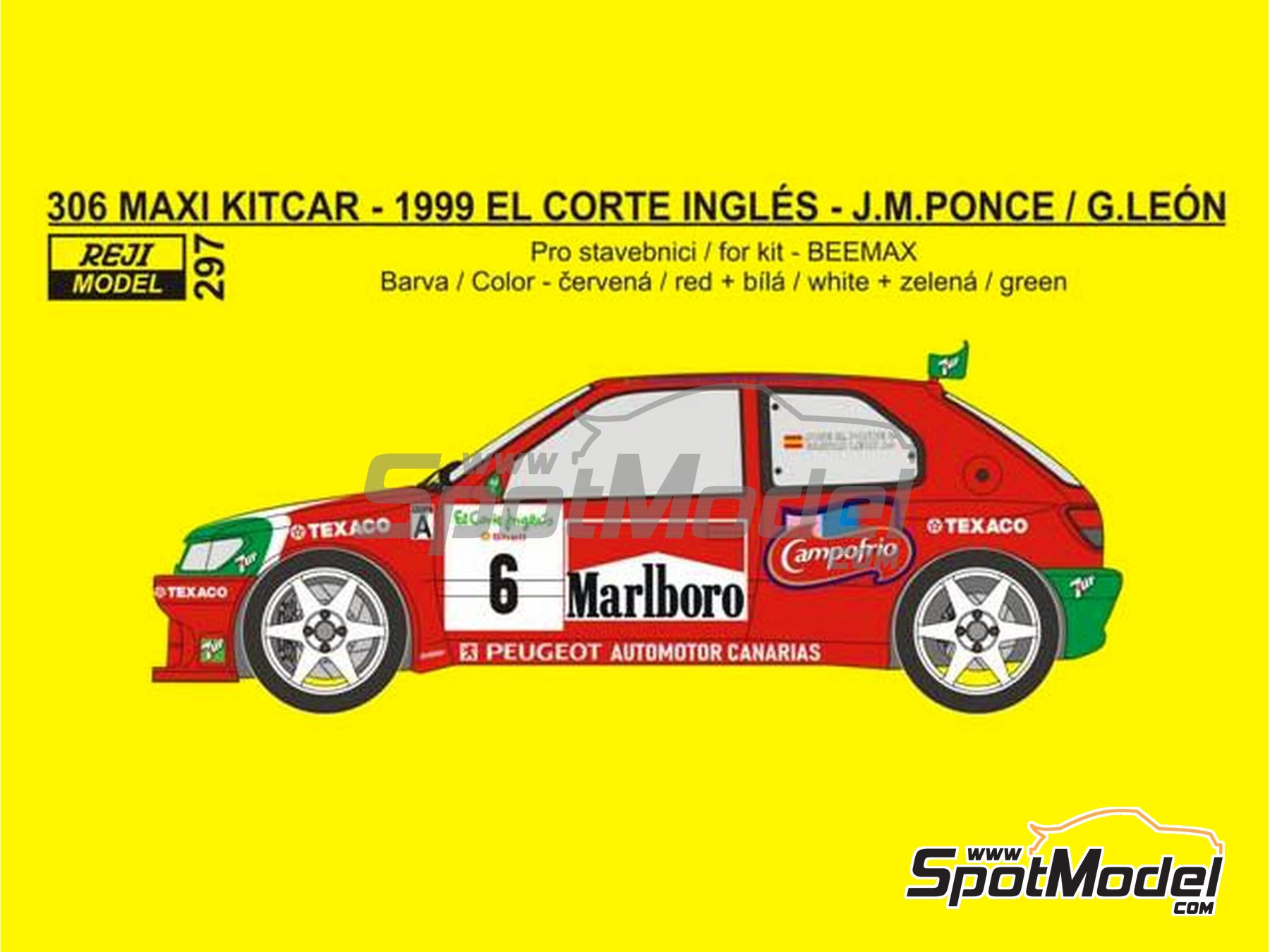 Image 1: Peugeot 306 Maxi Kitcar Marlboro - El Corte Ingles Rally 1999 | Marking / livery in 1/24 scale manufactured by Reji Model (ref. REJI-297)
