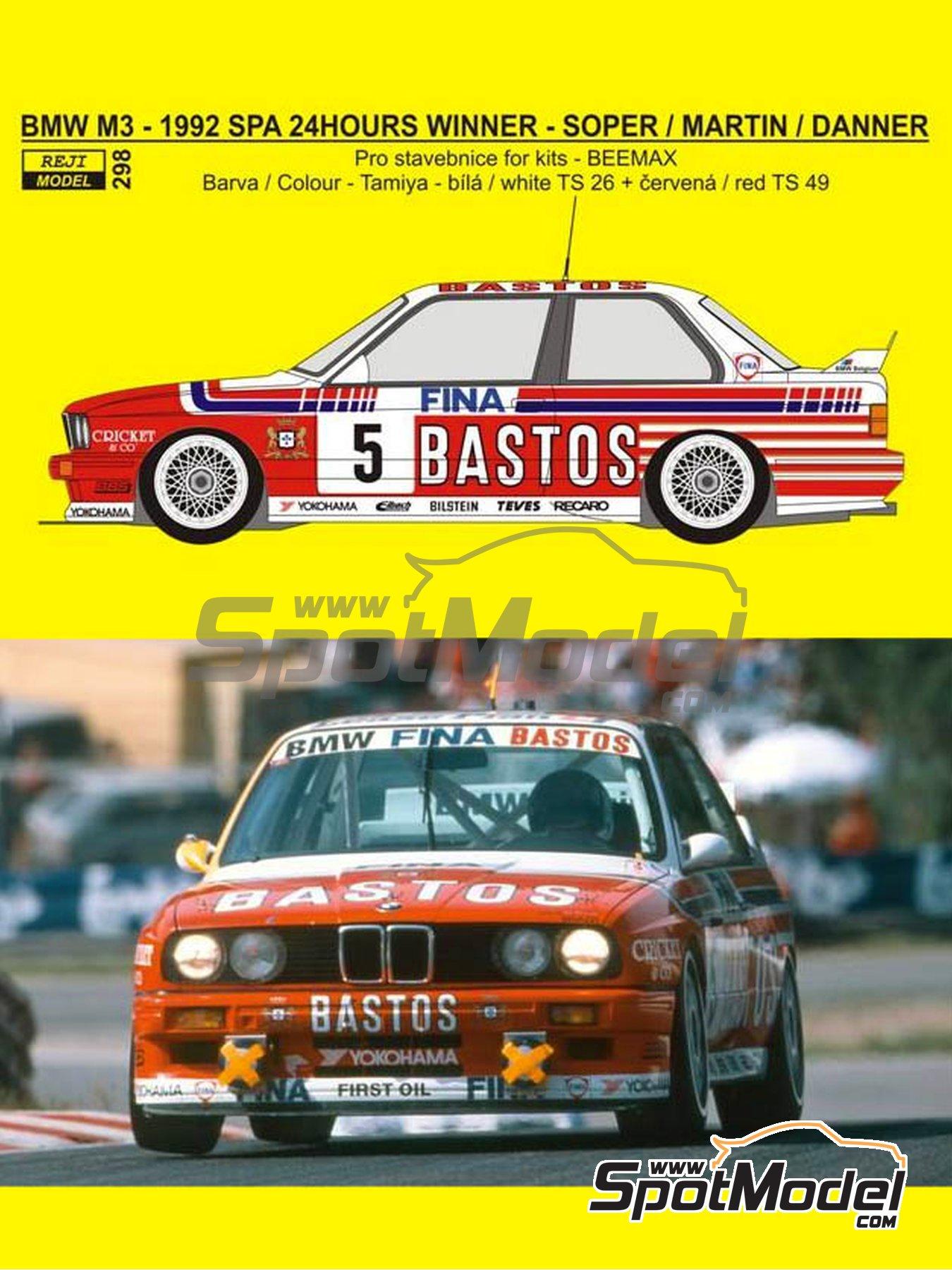 BMW M3 E30 Fina Bastos Team - 24 Horas de SPA Francorchamps 1992 | Decoración en escala1/24 fabricado por Reji Model (ref.REJI-298, tambien 0298) image
