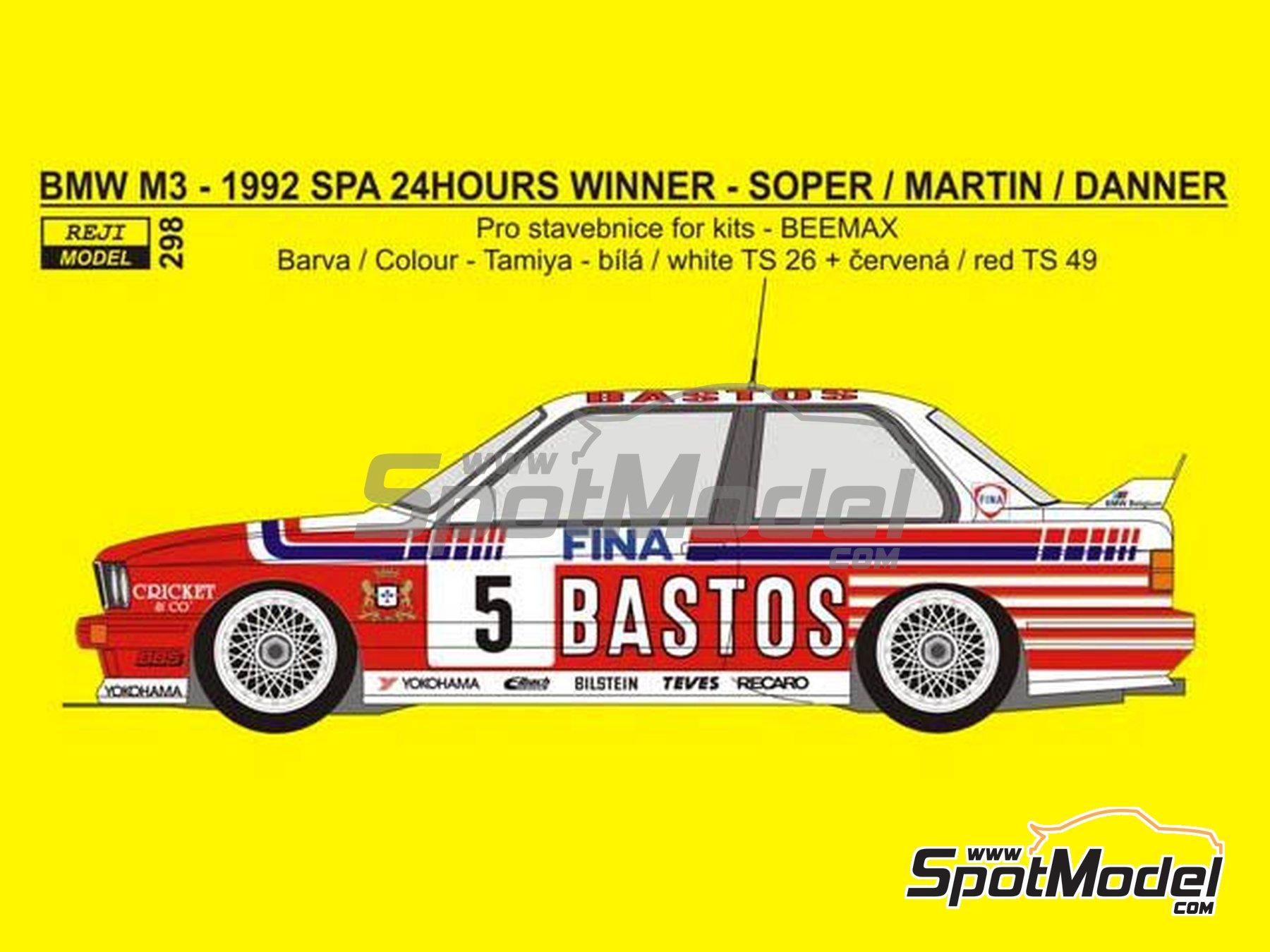 Image 2: BMW M3 E30 Fina Bastos Team - 24 Horas de SPA Francorchamps 1992 | Decoración en escala1/24 fabricado por Reji Model (ref.REJI-298, tambien 0298)