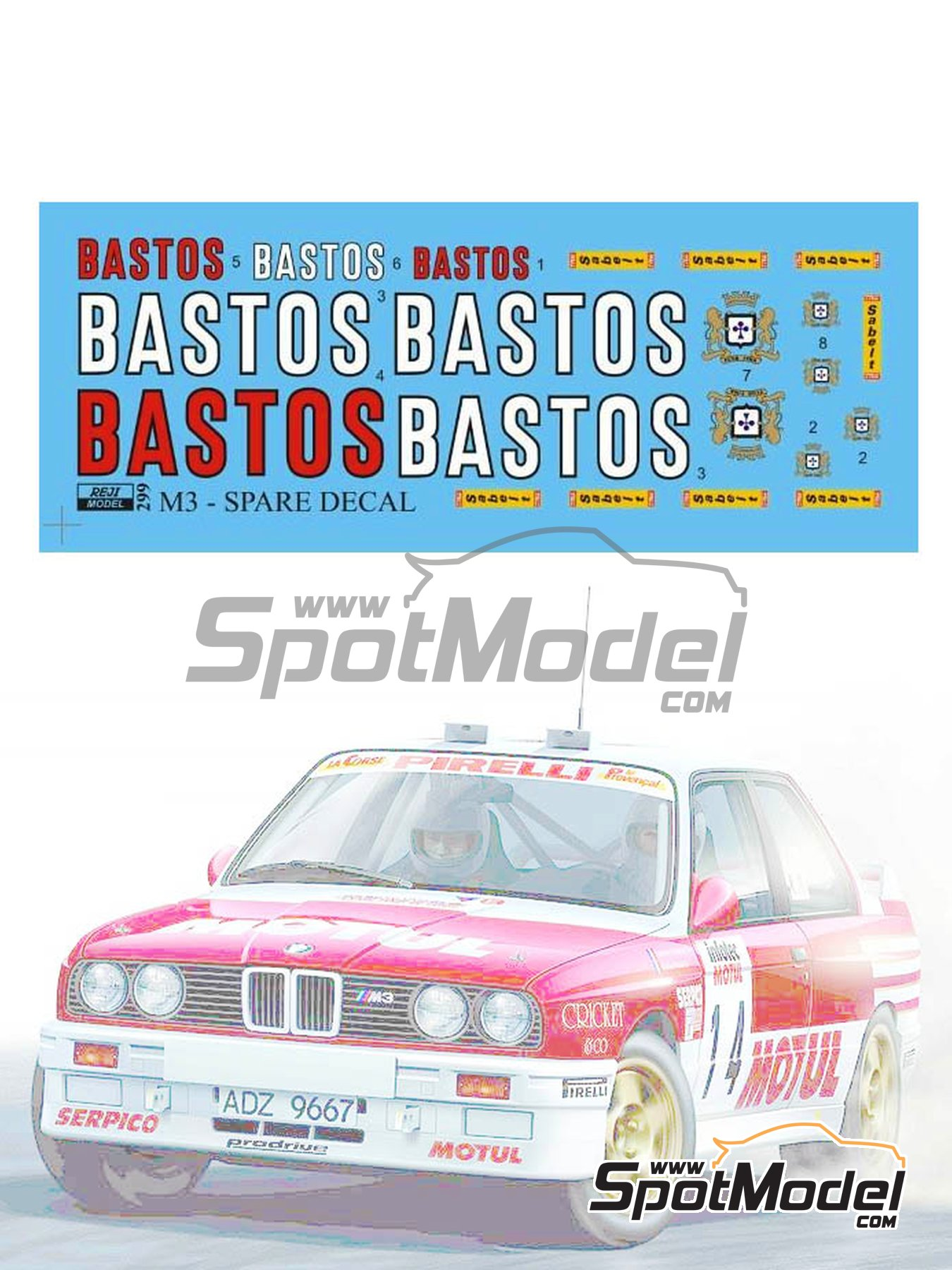 BMW M3 E30 Rally Group A Bastos - Tour de Corse | Logotypes in 1/24 scale manufactured by Reji Model (ref.REJI-299) image