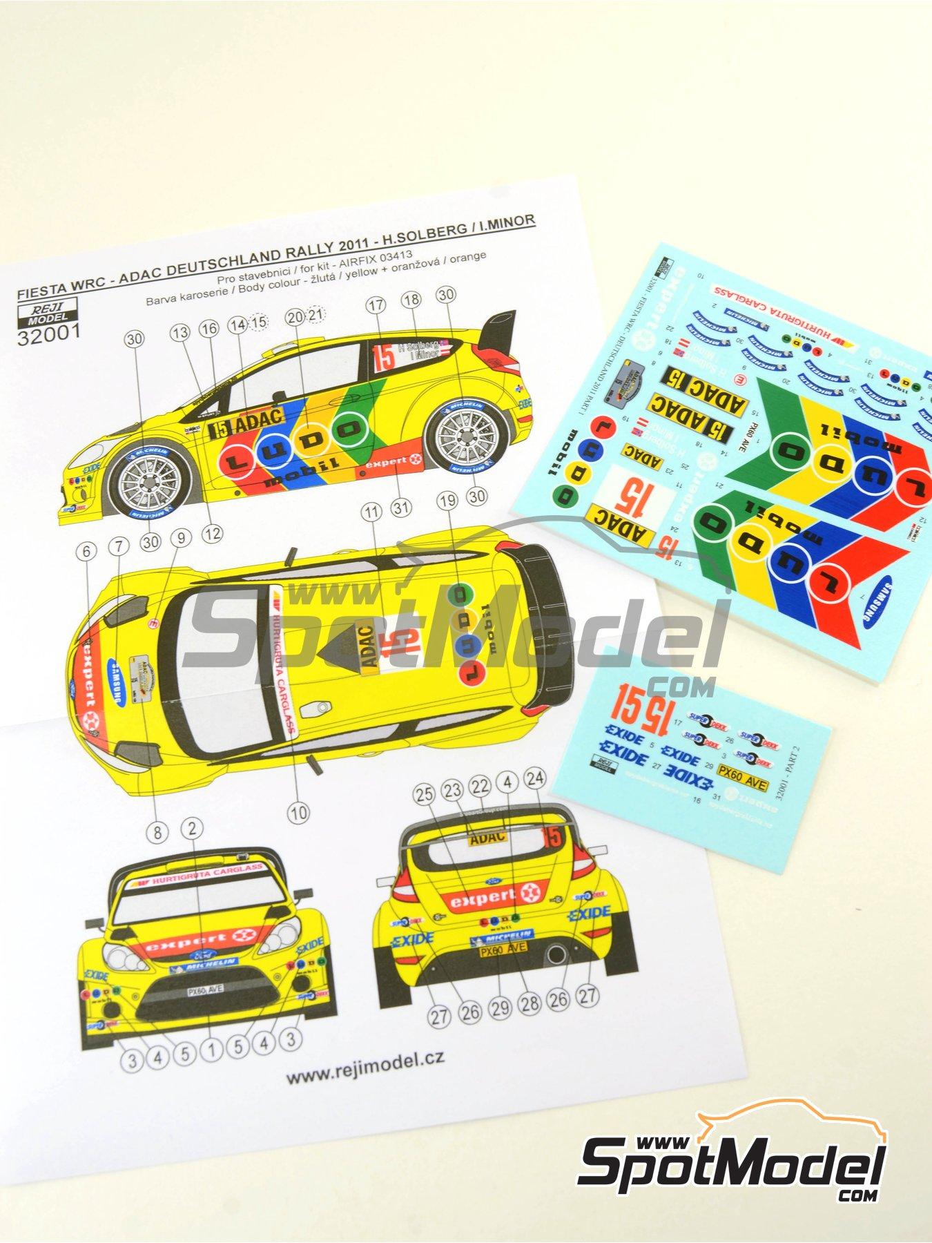 Ford Fiesta WRC Ludo Mobil - Rally de Alemania ADAC 2011 | Decoración en escala1/32 fabricado por Reji Model (ref.REJI-32001) image