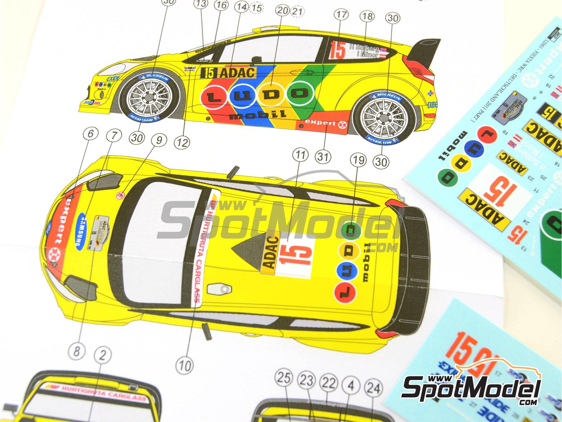 Image 2: Ford Fiesta WRC Ludo Mobil - Rally de Alemania ADAC 2011 | Decoración en escala1/32 fabricado por Reji Model (ref.REJI-32001)