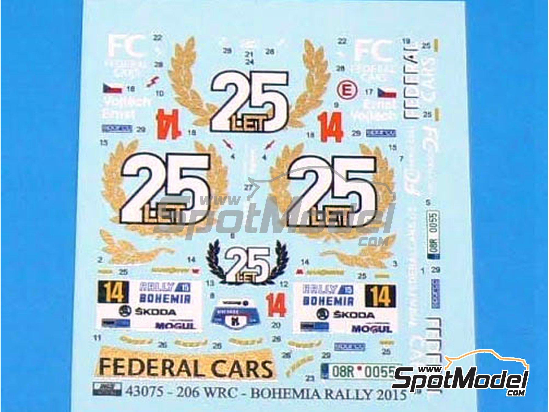 Image 1: Peugeot 206 WRC Federal Cars - Rally de Bohemia 2015 | Calcas de agua en escala1/43 fabricado por Reji Model (ref.REJI-43075)