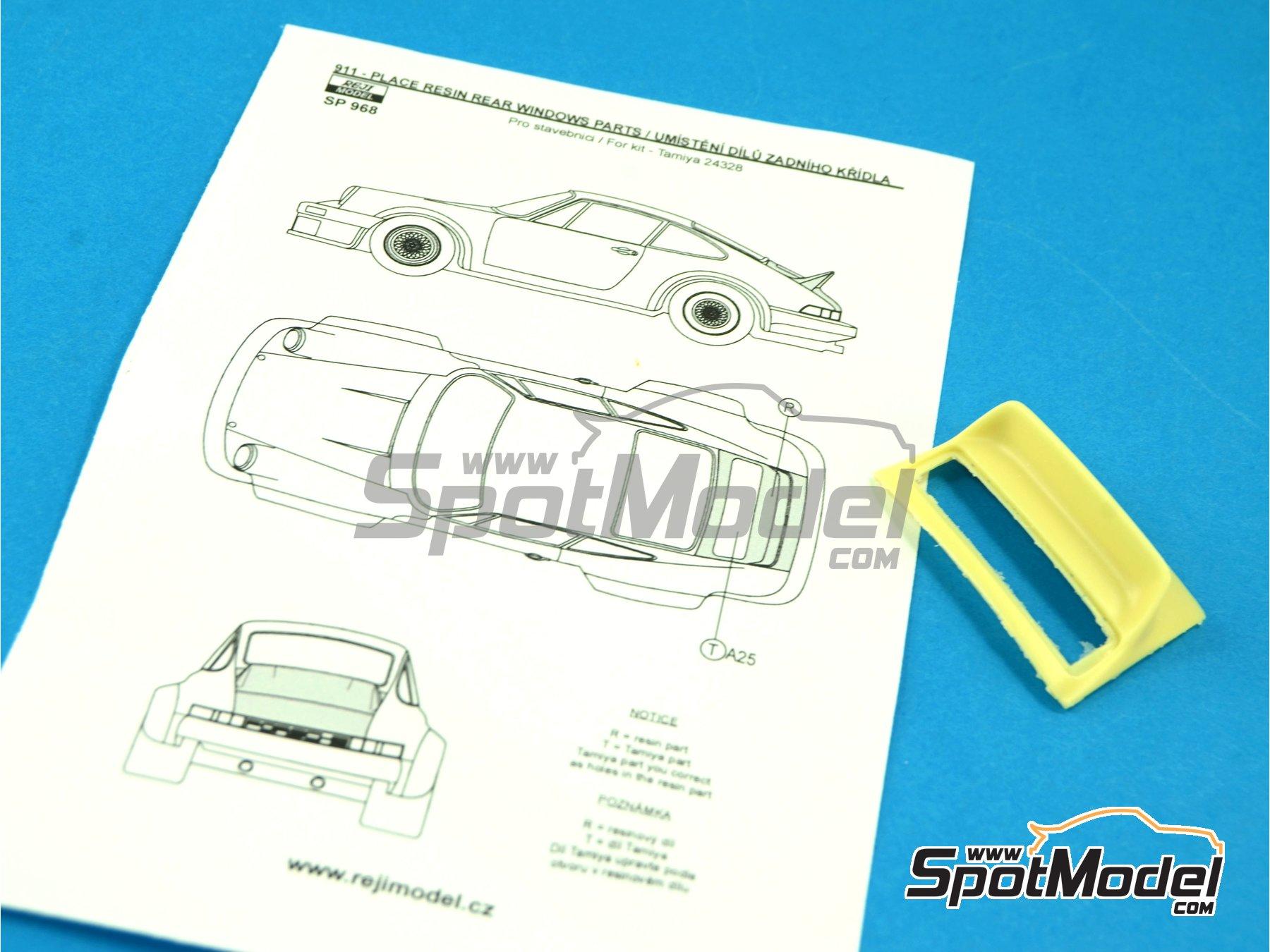 Image 5: Porsche 911 ducktail rear spoiler - aleron trasero de pico de pato   Transkit en escala1/24 fabricado por Reji Model (ref.REJI-SP968)