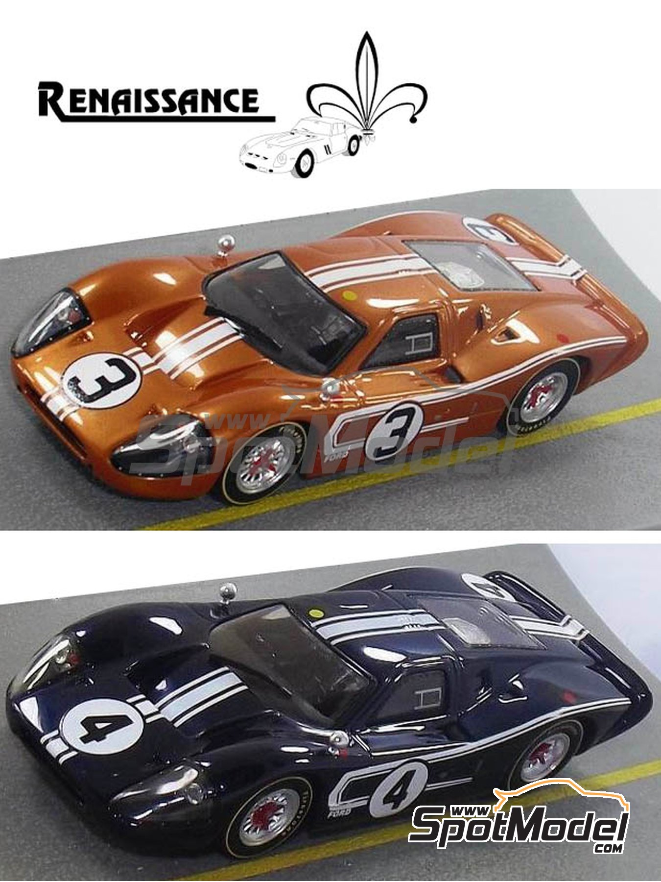 Ford GT40 Mk IV - 24 Hours Le Mans 1967 | Model car kit in 1/24 scale manufactured by Renaissance Models (ref. 24-16B) image