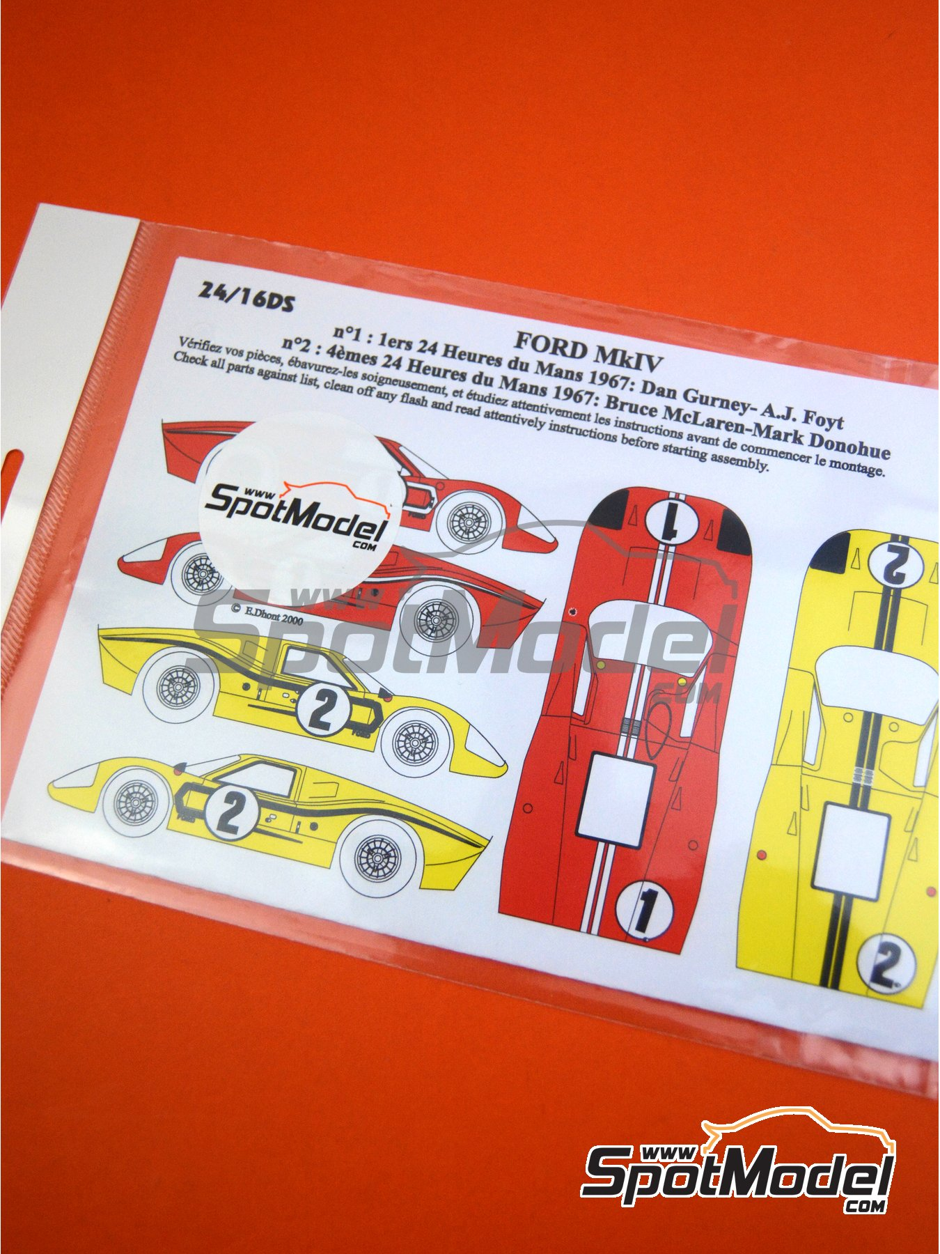 Ford GT40 Mk IV - 24 Hours Le Mans 1967 | Marking / livery in 1/24 scale manufactured by Renaissance Models (ref. 24-16DS) image