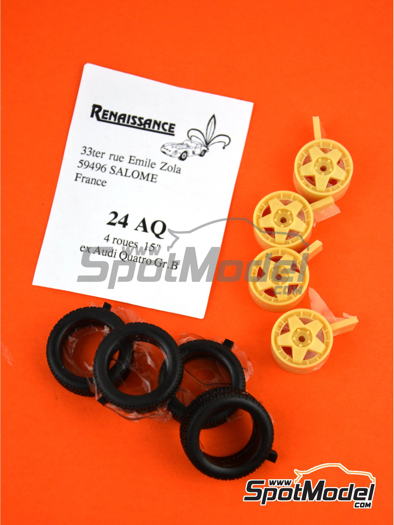Audi Quattro Group B 15 inches rims | Rims and tyres set in 1/24 scale manufactured by Renaissance Models (ref. 24AQ) image