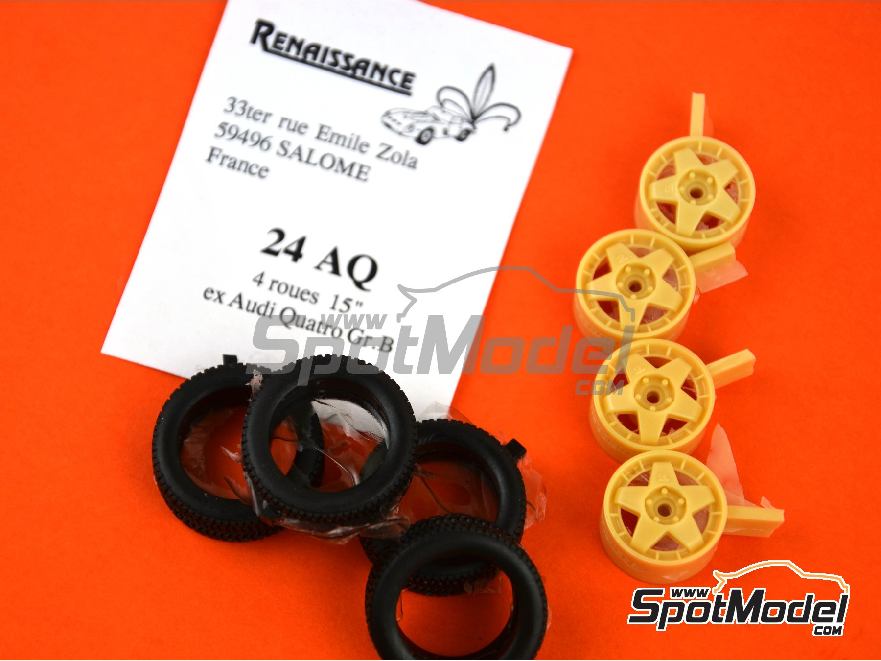 Image 1: Audi Quattro Group B 15 inches rims | Rims and tyres set in 1/24 scale manufactured by Renaissance Models (ref. 24AQ)
