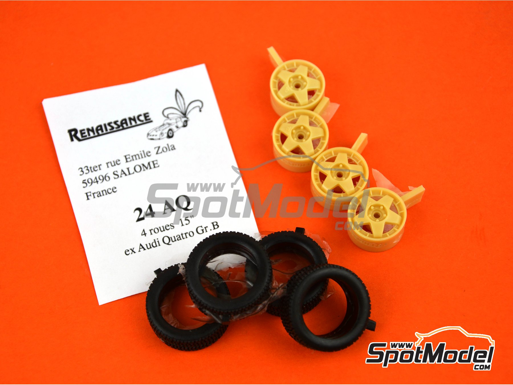 Image 3: Audi Quattro Group B 15 inches rims | Rims and tyres set in 1/24 scale manufactured by Renaissance Models (ref. 24AQ)