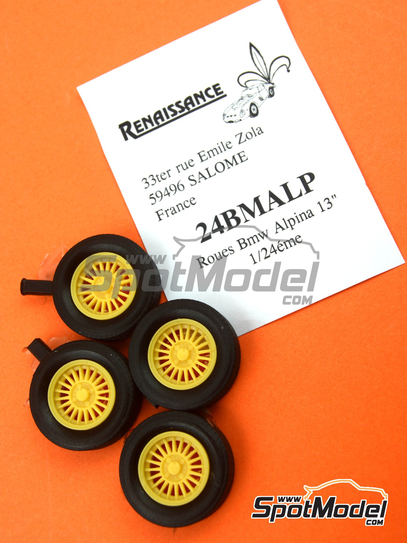 Alpina 13 inches 4 nuts | Rims and tyres set in 1/24 scale manufactured by Renaissance Models (ref. 24BMALP) image