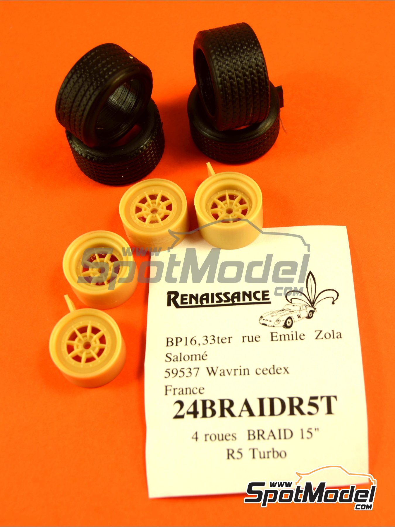 Braid 15 inches | Rims and tyres set in 1/24 scale manufactured by Renaissance Models (ref.24BRAIDR5T) image