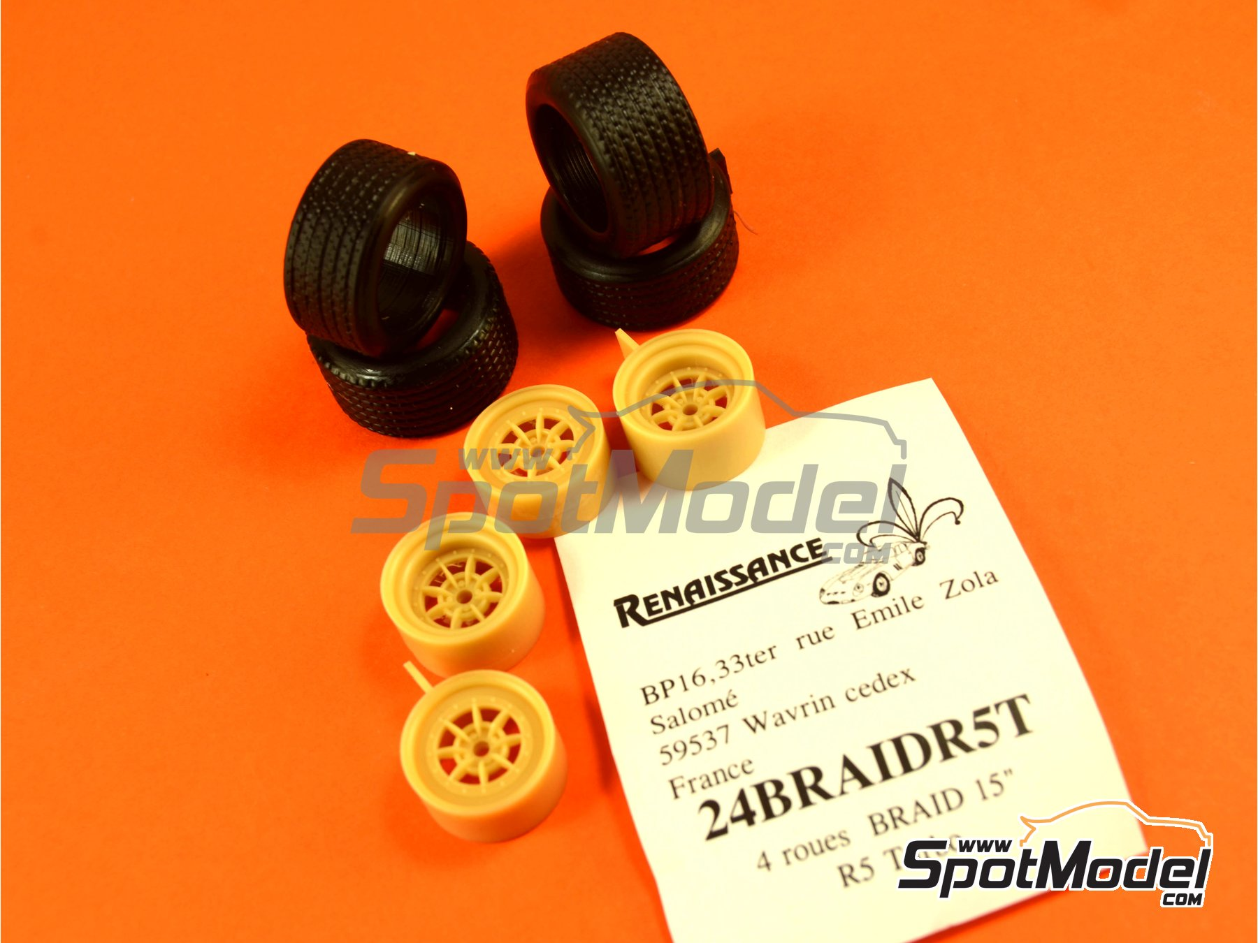 Image 5: Braid 15 inches | Rims and tyres set in 1/24 scale manufactured by Renaissance Models (ref.24BRAIDR5T)