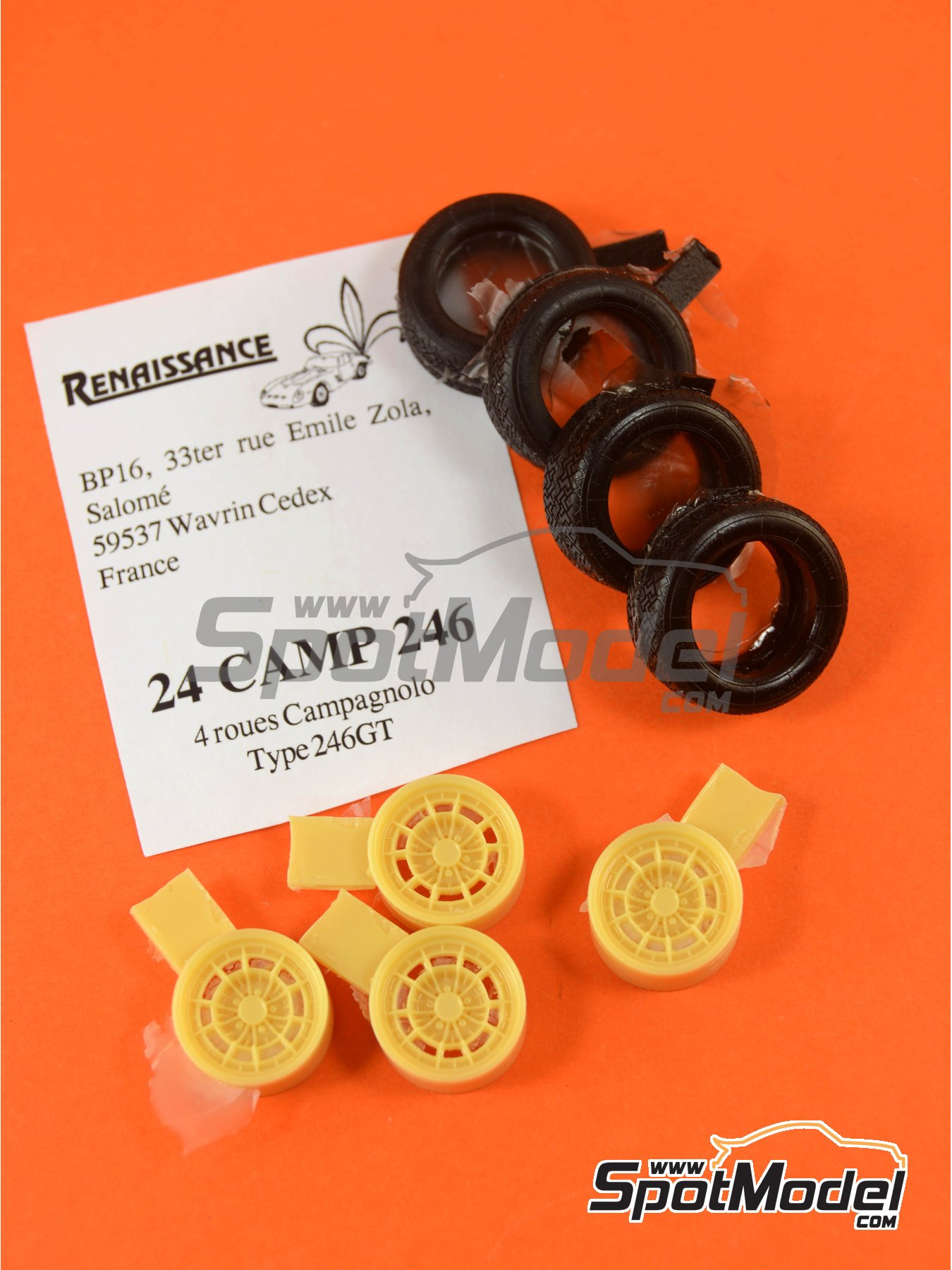 Campagnolo rims for Ferrari Dino 246 GT   Rims and tyres set in 1/24 scale manufactured by Renaissance Models (ref.24CAMP246) image