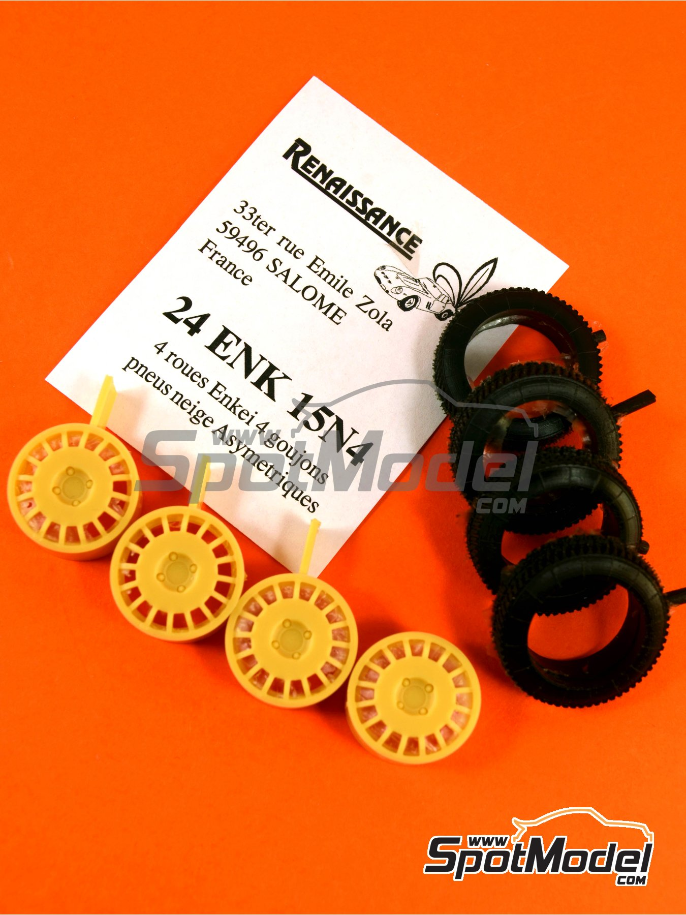 Enkei 15 inches 4 nuts asymmetric snow tyres | Rims and tyres set in 1/24 scale manufactured by Renaissance Models (ref. 24ENK15N4) image