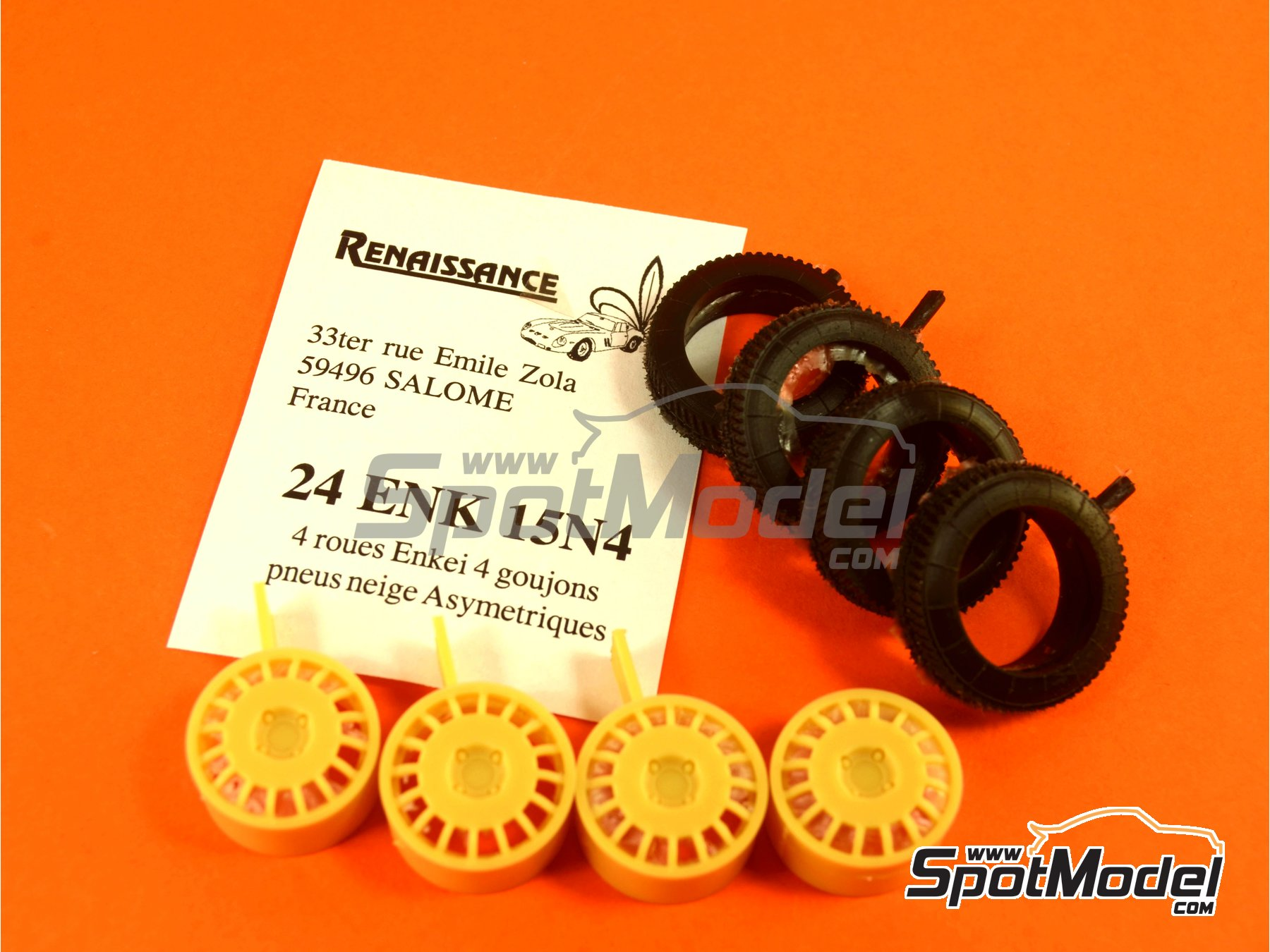 Image 4: Enkei 15 inches 4 nuts asymmetric snow tyres | Rims and tyres set in 1/24 scale manufactured by Renaissance Models (ref. 24ENK15N4)