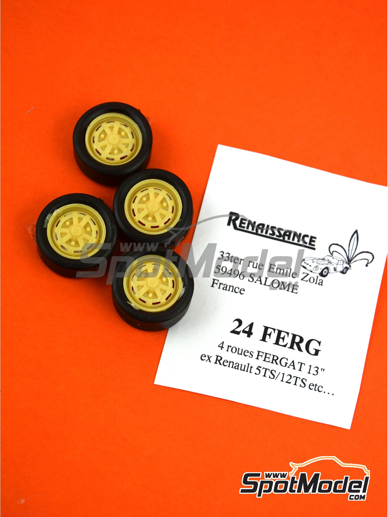 Renault R5 R12 Fergat 13 inches | Rims and tyres set in 1/24 scale manufactured by Renaissance Models (ref. 24FERG) image